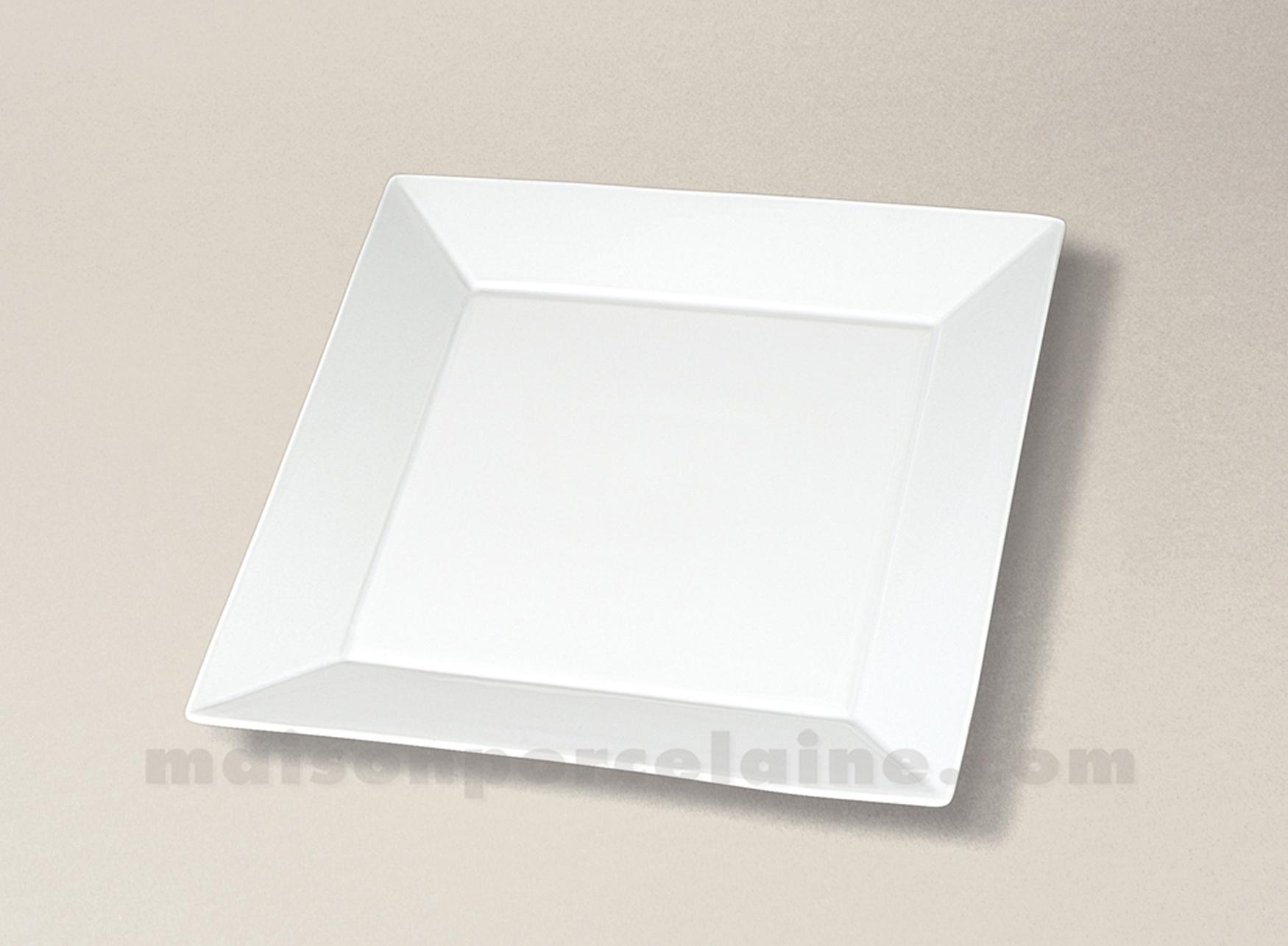 assiette carree plate porcelaine blanche kyoto 21x21. Black Bedroom Furniture Sets. Home Design Ideas