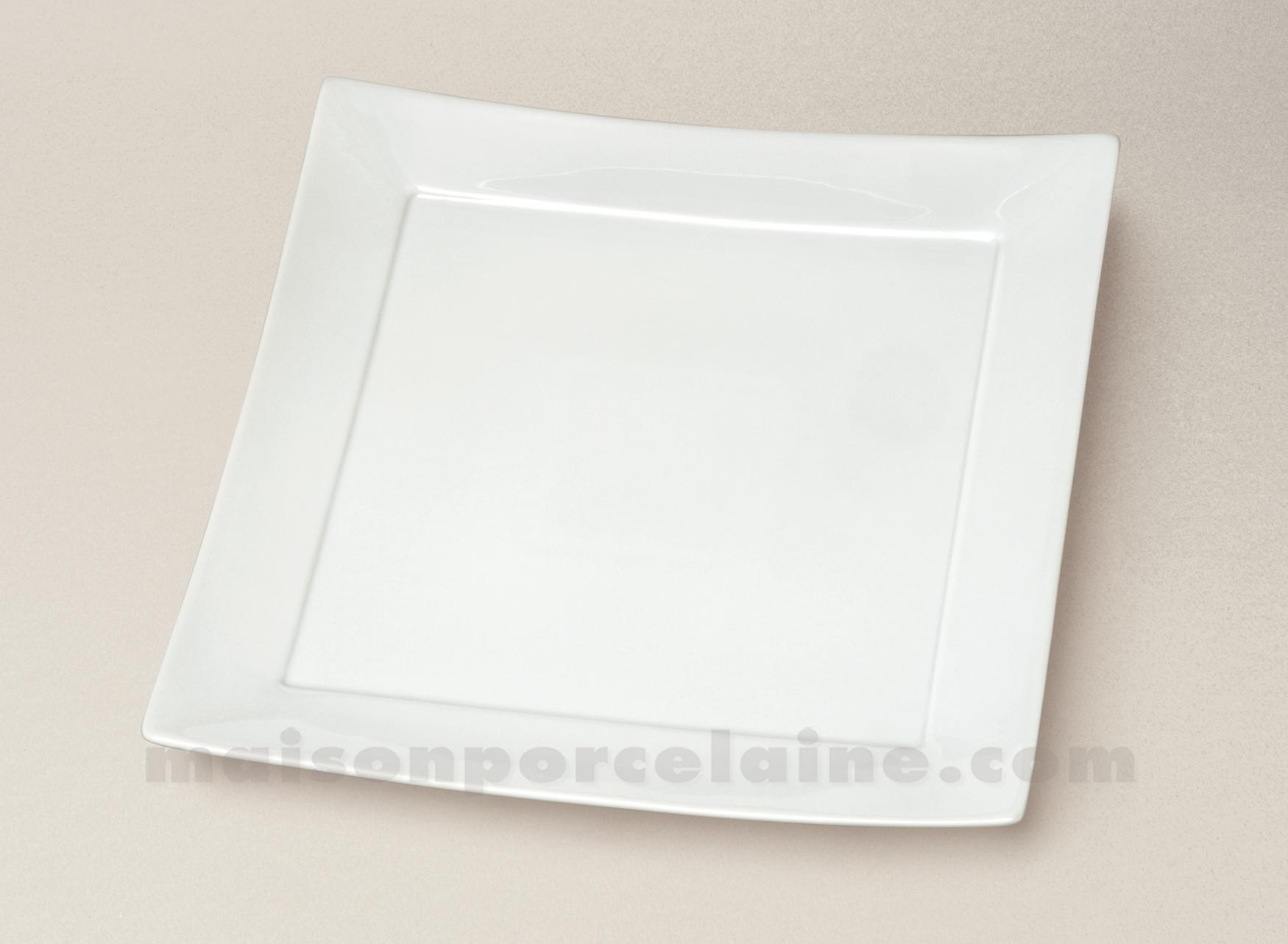 assiette carree plate porcelaine blanche ruban 26x26 maison de la porcelaine. Black Bedroom Furniture Sets. Home Design Ideas