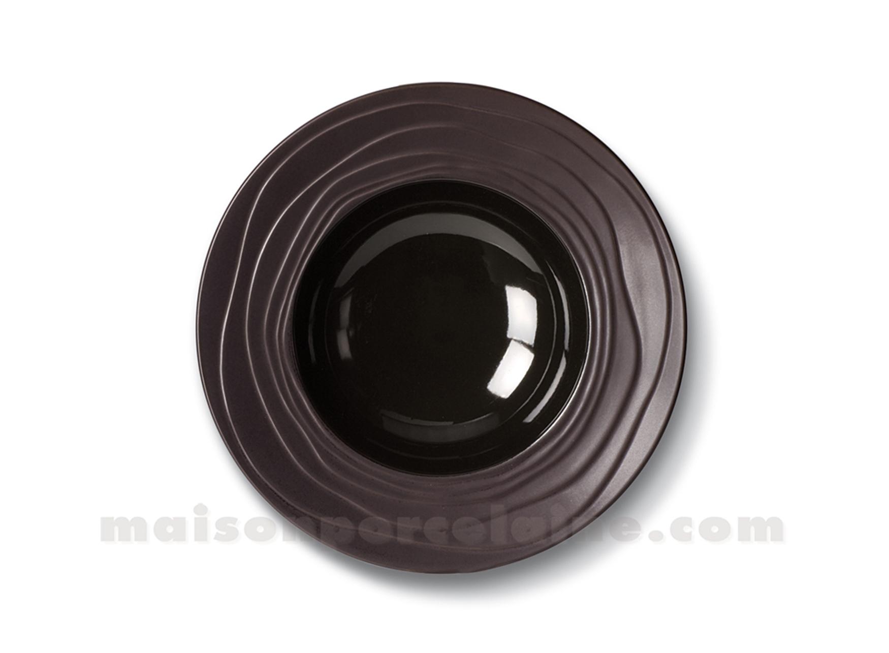 Assiettes creuses noires porcelaine Yoko  Art de la table