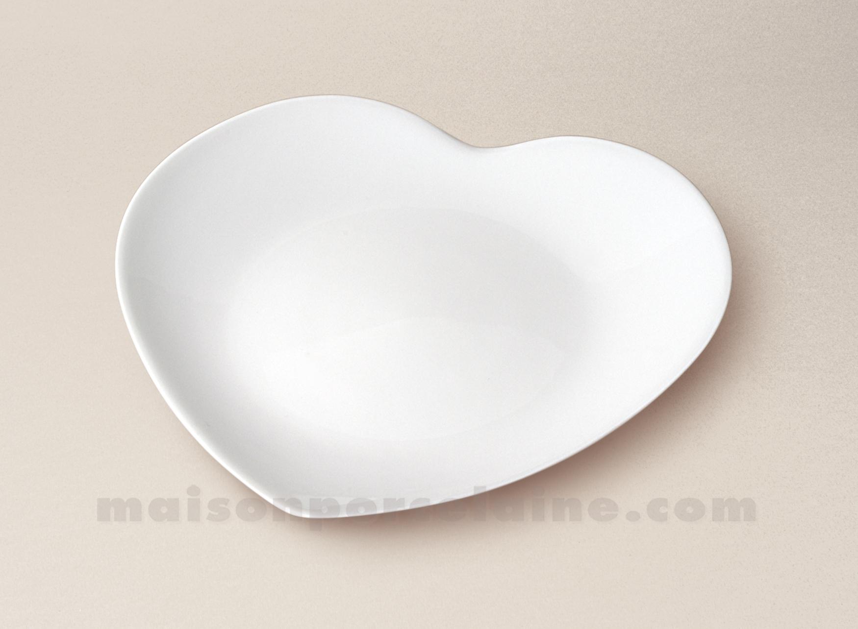 Assiette dessert coeur limoges porcelaine blanche d20 maison de la porcelaine - La porcelaine blanche ...