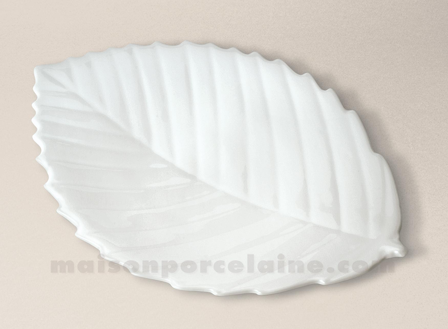 Assiette feuille chataigner limoges porcelaine blanche 28cm maison de la po - La porcelaine blanche ...