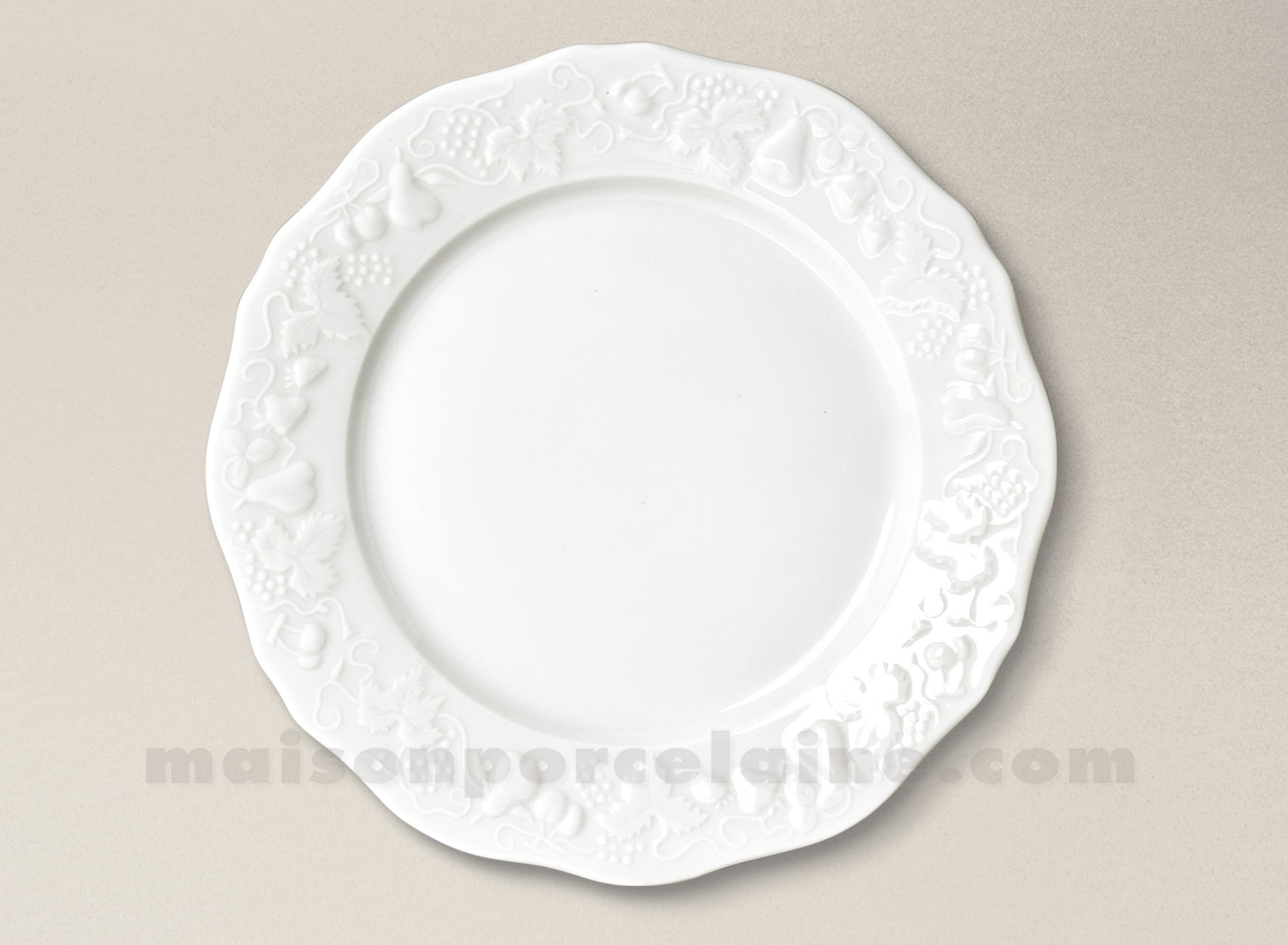 assiette plate california limoges porcelaine blanche d25 5 maison de la porcelaine. Black Bedroom Furniture Sets. Home Design Ideas