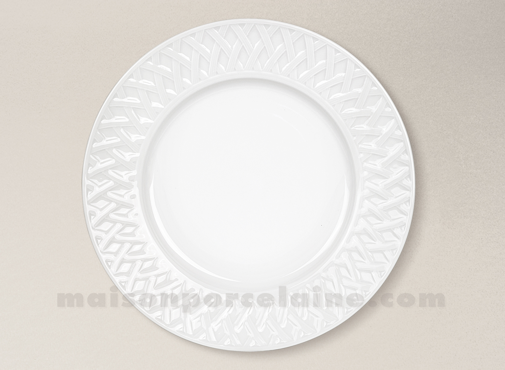 assiette plate limoges porcelaine blanche louisiane d27 maison de la porcelaine. Black Bedroom Furniture Sets. Home Design Ideas