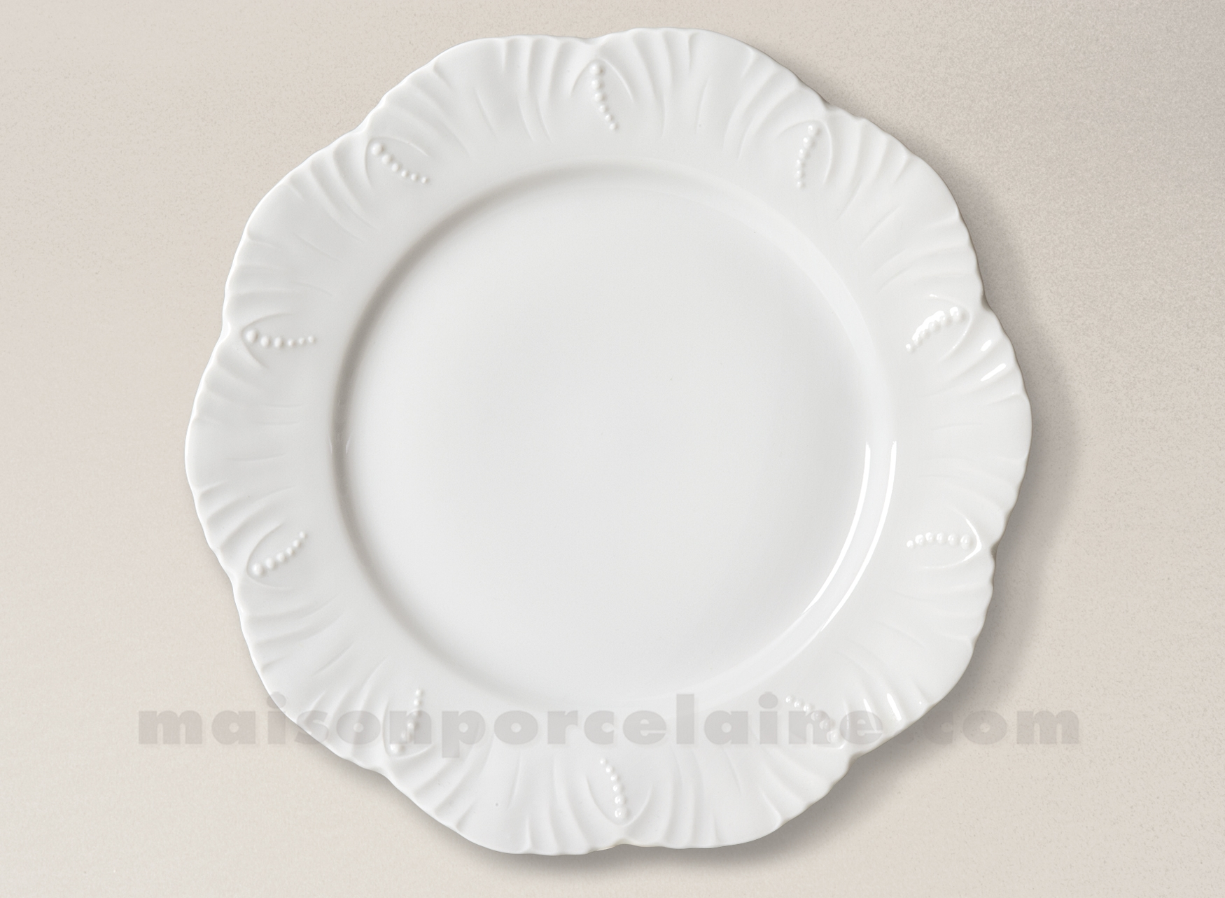 assiette plate limoges porcelaine blanche ocean 26cm. Black Bedroom Furniture Sets. Home Design Ideas