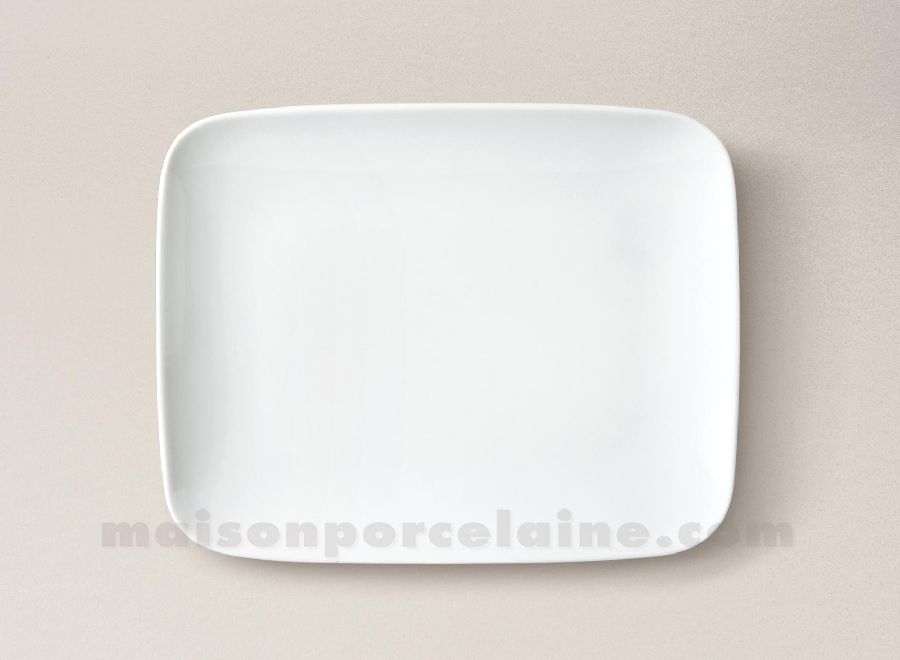 assiette rectangulaire dessert porcelaine blanche atlas 22x17 maison de la porcelaine. Black Bedroom Furniture Sets. Home Design Ideas