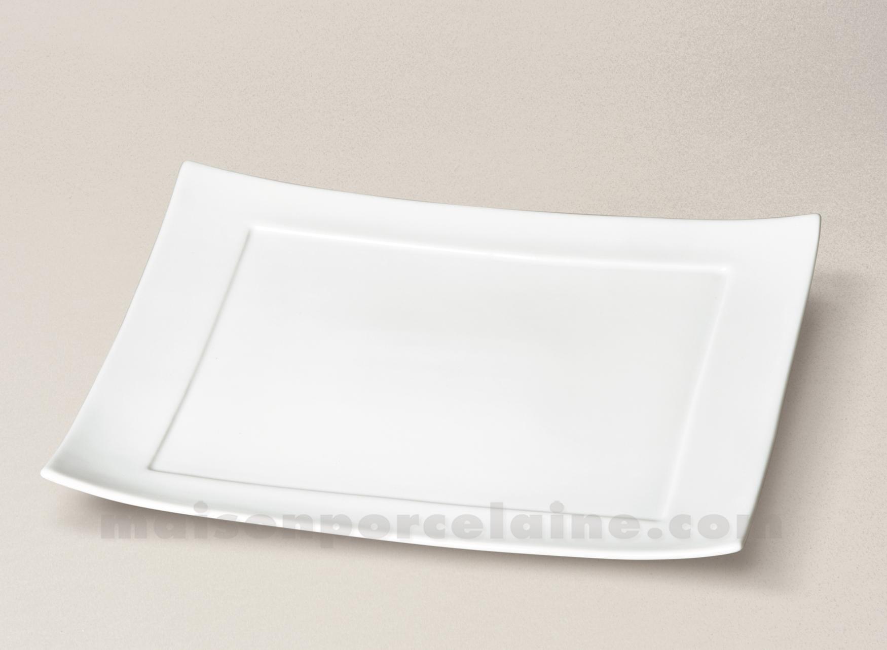 assiette rectangulaire porcelaine blanche ruban 32x22. Black Bedroom Furniture Sets. Home Design Ideas