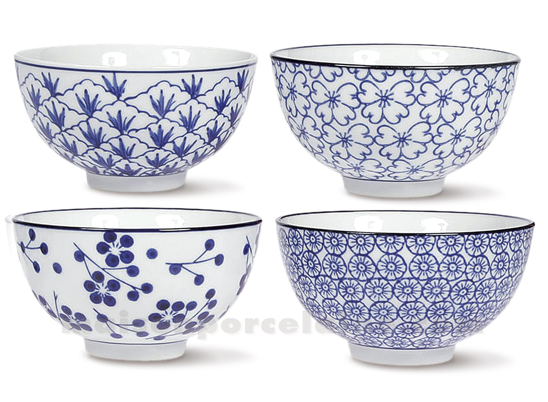 bol porcelaine cite interdite fleurs bleu de cobalt 24cl set de 4 assortis maison de la. Black Bedroom Furniture Sets. Home Design Ideas