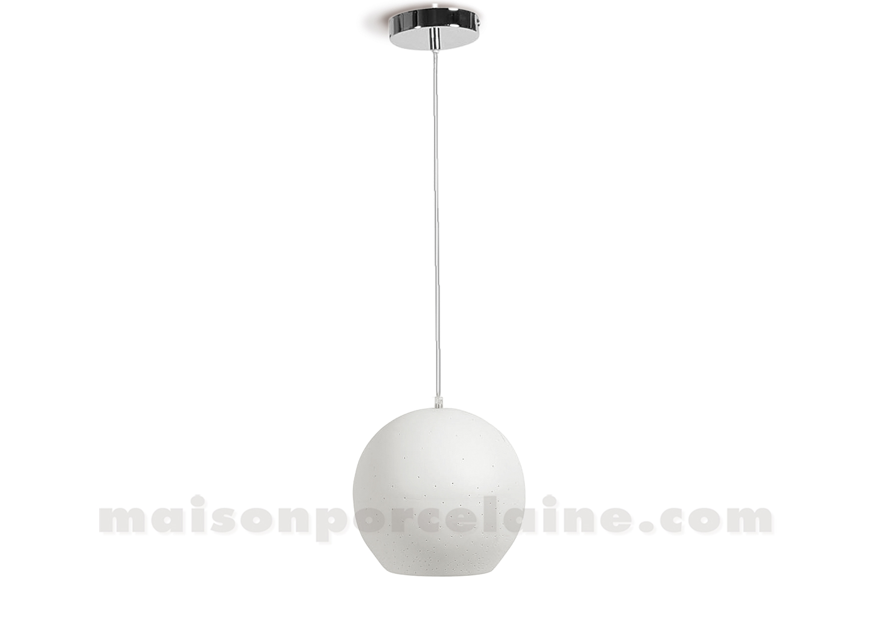 Lampe biscuit porcelaine suspension boule lisse mm 21x17 for Suspension boule