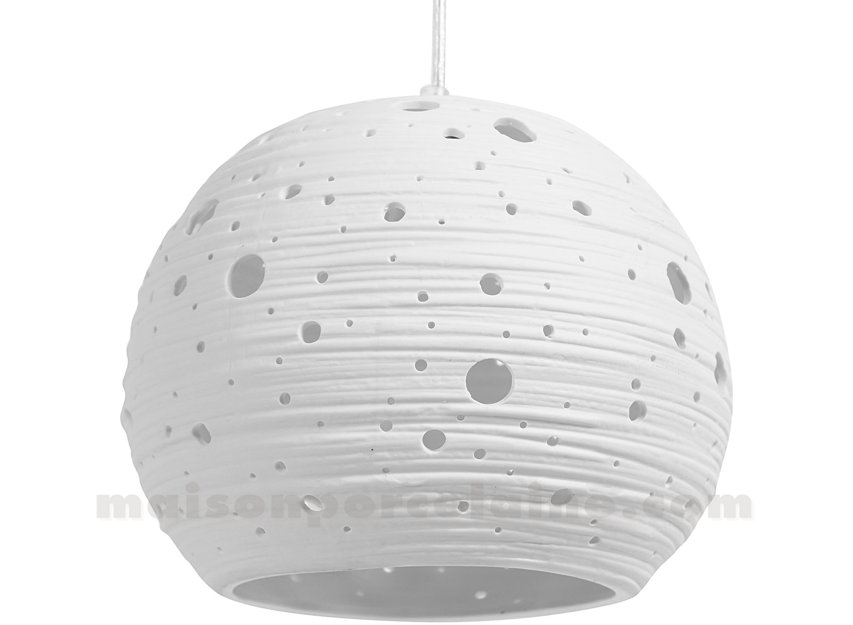 Lampe biscuit porcelaine suspension boule stries mm 21x17 5cm maison de la - Lampe suspension boule ...