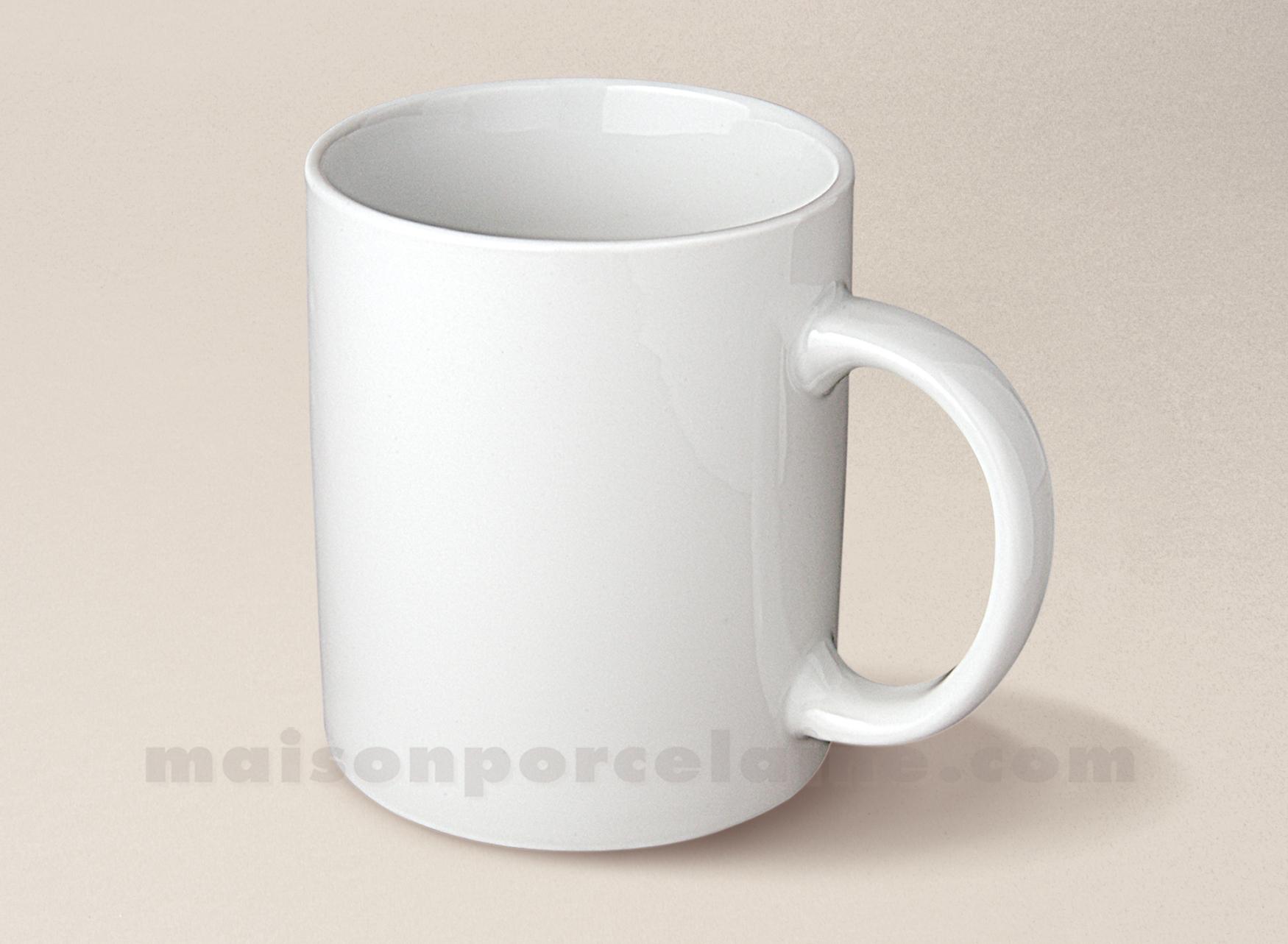 Mug porcelaine blanche classique 9x8 34cl maison de la for Maison blanche classique