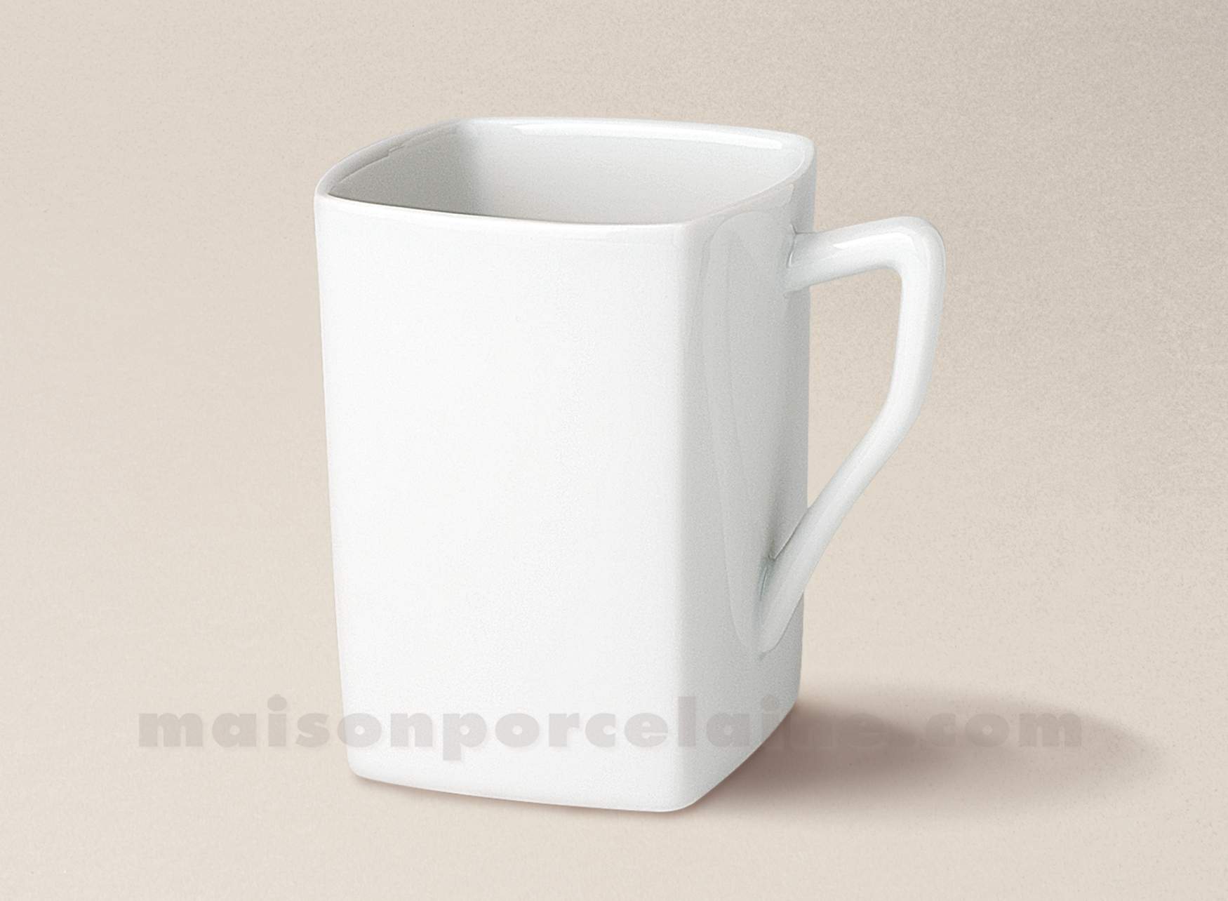 mug porcelaine blanche limoges carre 26cl maison de la porcelaine. Black Bedroom Furniture Sets. Home Design Ideas