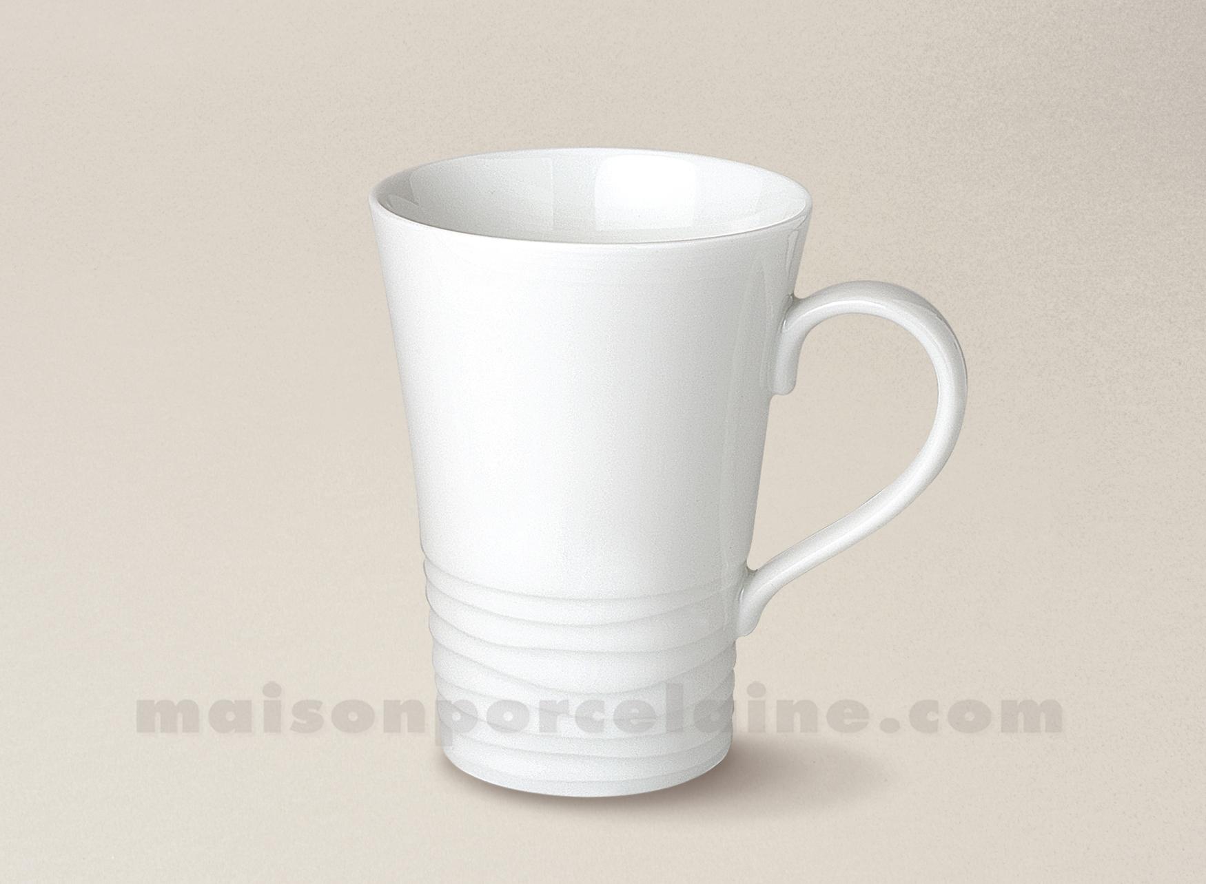 Mug porcelaine blanche onde gravee 30cl maison de la for Maison de la porcelaine