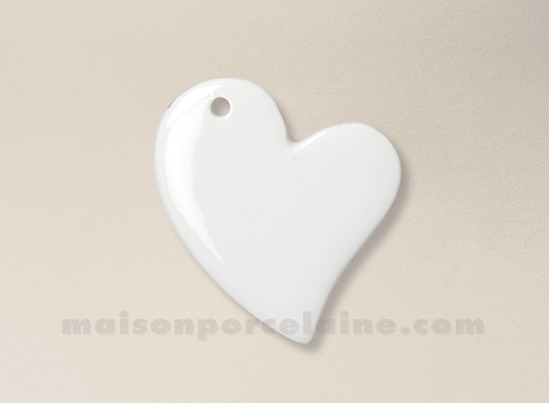 Pendentif medaillon porcelaine blanche a peindre coeur asymetrique 5 4x6 2 - La porcelaine blanche ...