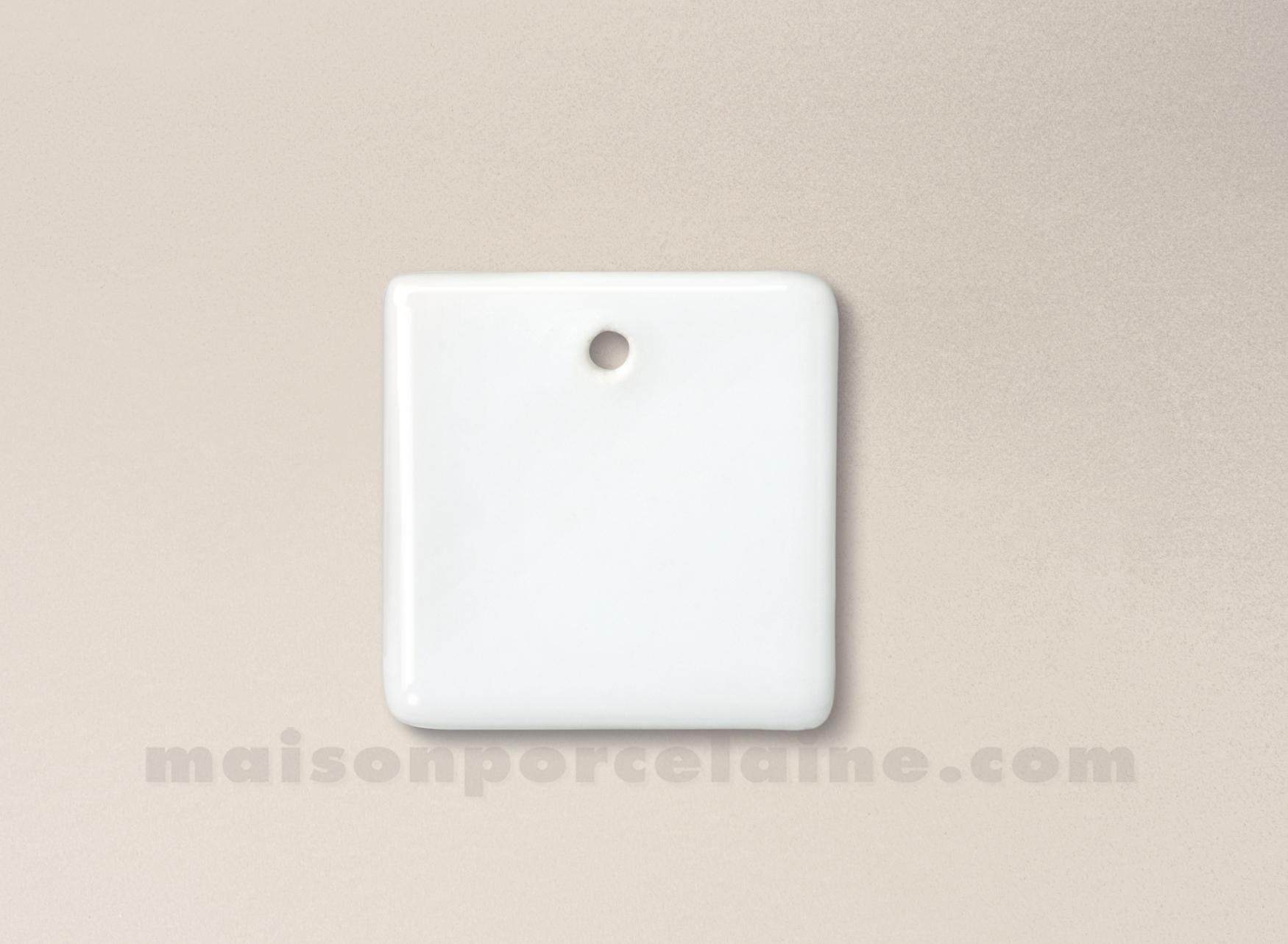 Pendentif medaillon porcelaine blanche a peindre carre 4x4 for Maison de la porcelaine