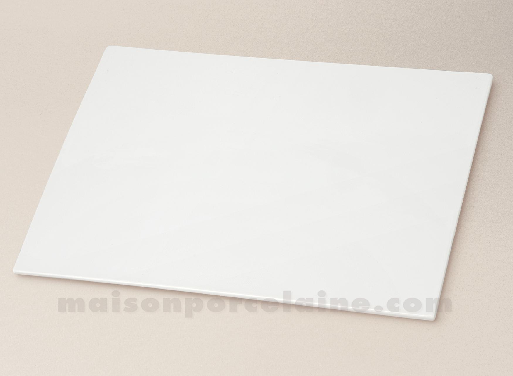 Plaque rectangulaire unie porcelaine blanche 30x21 for Service de table rectangulaire
