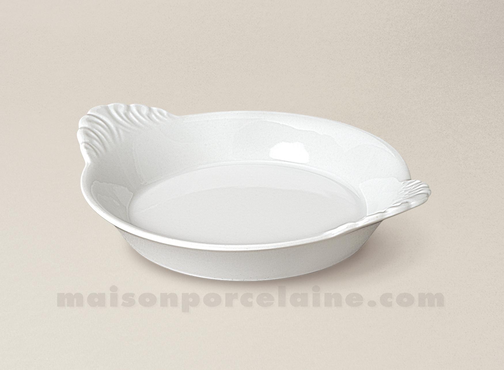 plat a four rond oreilles porcelaine blanche mm 18x14. Black Bedroom Furniture Sets. Home Design Ideas
