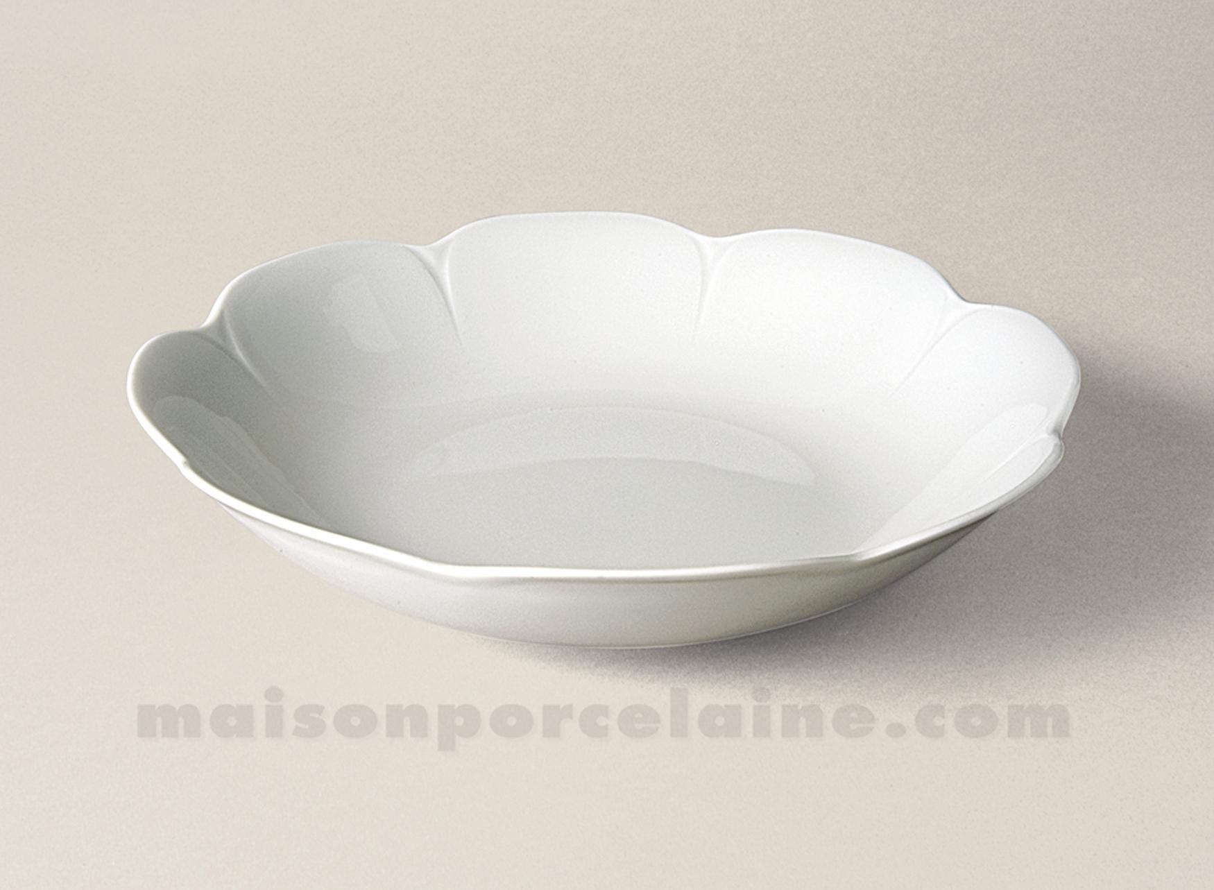 Plat creux coupe limoges porcelaine blanche nymphea d29 for Maison de la porcelaine
