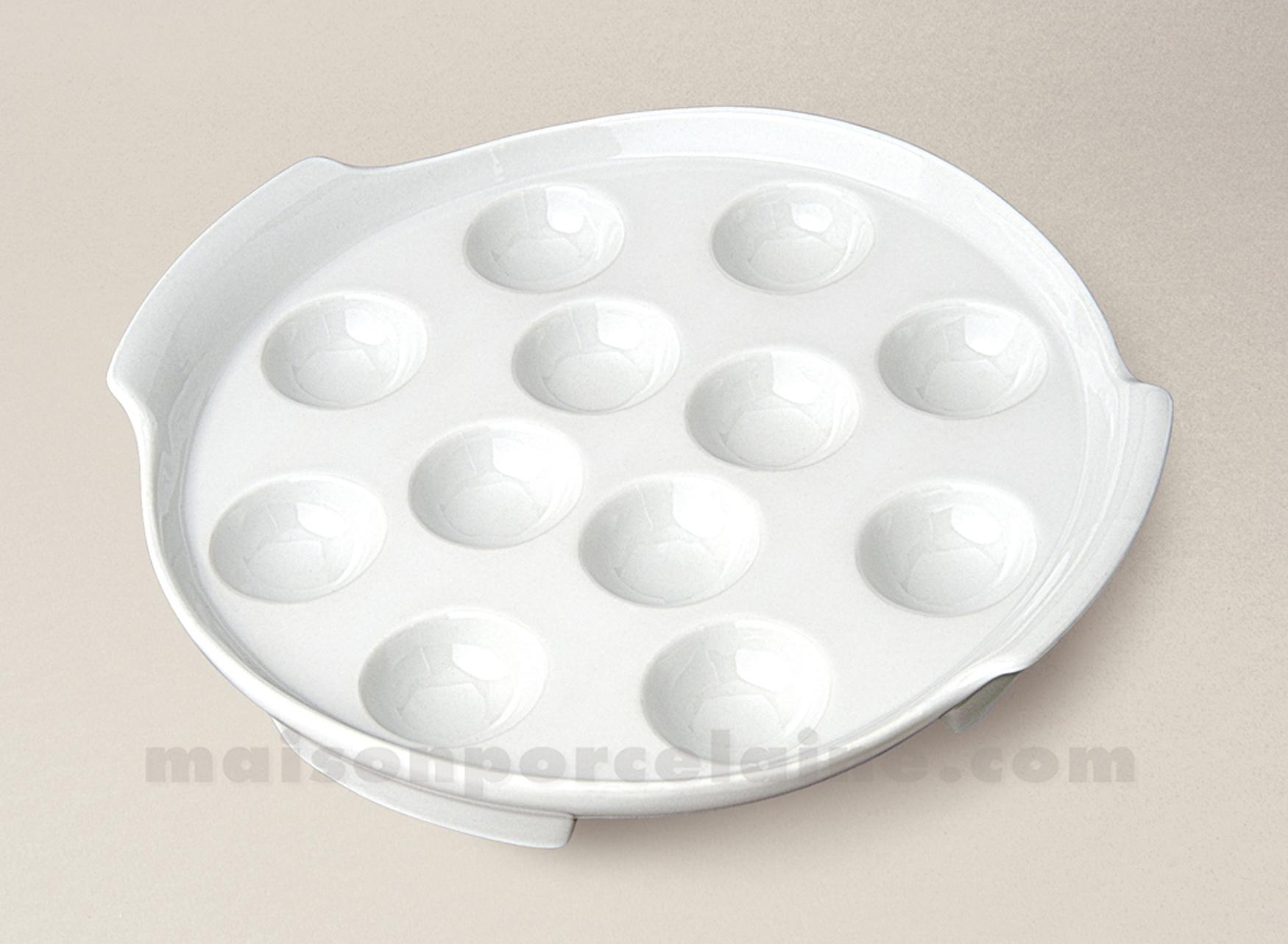 plat escargots rond 12 trous porcelaine blanche culinaire 25x4 maison de la porcelaine. Black Bedroom Furniture Sets. Home Design Ideas