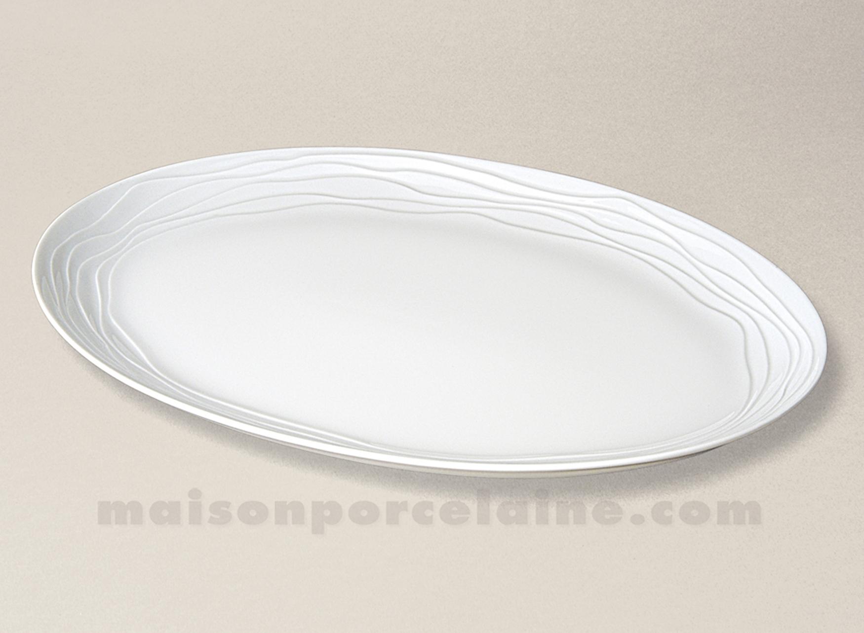 Plat ovale porcelaine blanche limoges onde gravee pm 37x27 for Maison de la porcelaine