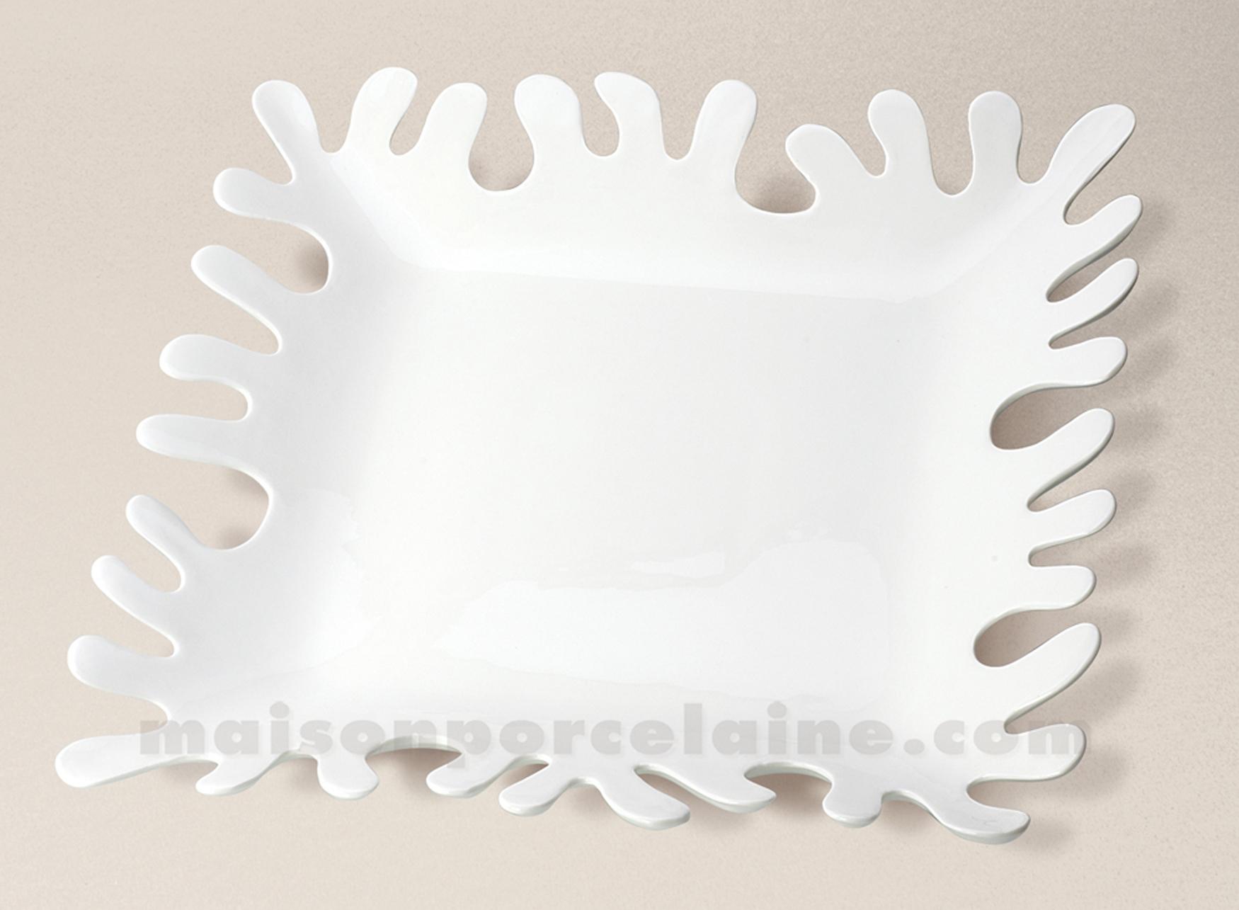 Plat Porcelaine Algue Carre Blanc 31 5×31 5×4 5 Maison De La
