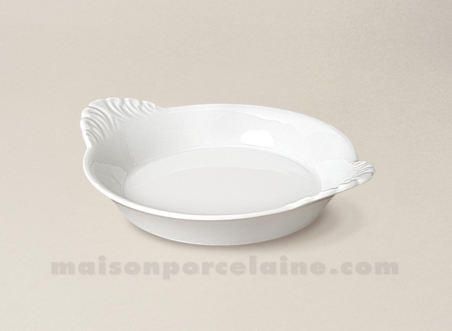 plat rond oreilles porcelaine blanche culinaire pm 16x13 maison de la porcelaine. Black Bedroom Furniture Sets. Home Design Ideas
