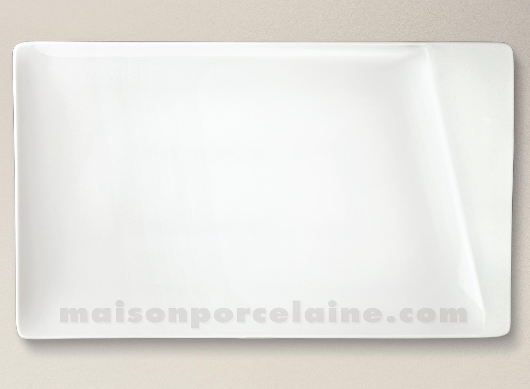 plat assiette rectangulaire porcelaine blanche kheops 35x21cm maison de la porcelaine. Black Bedroom Furniture Sets. Home Design Ideas