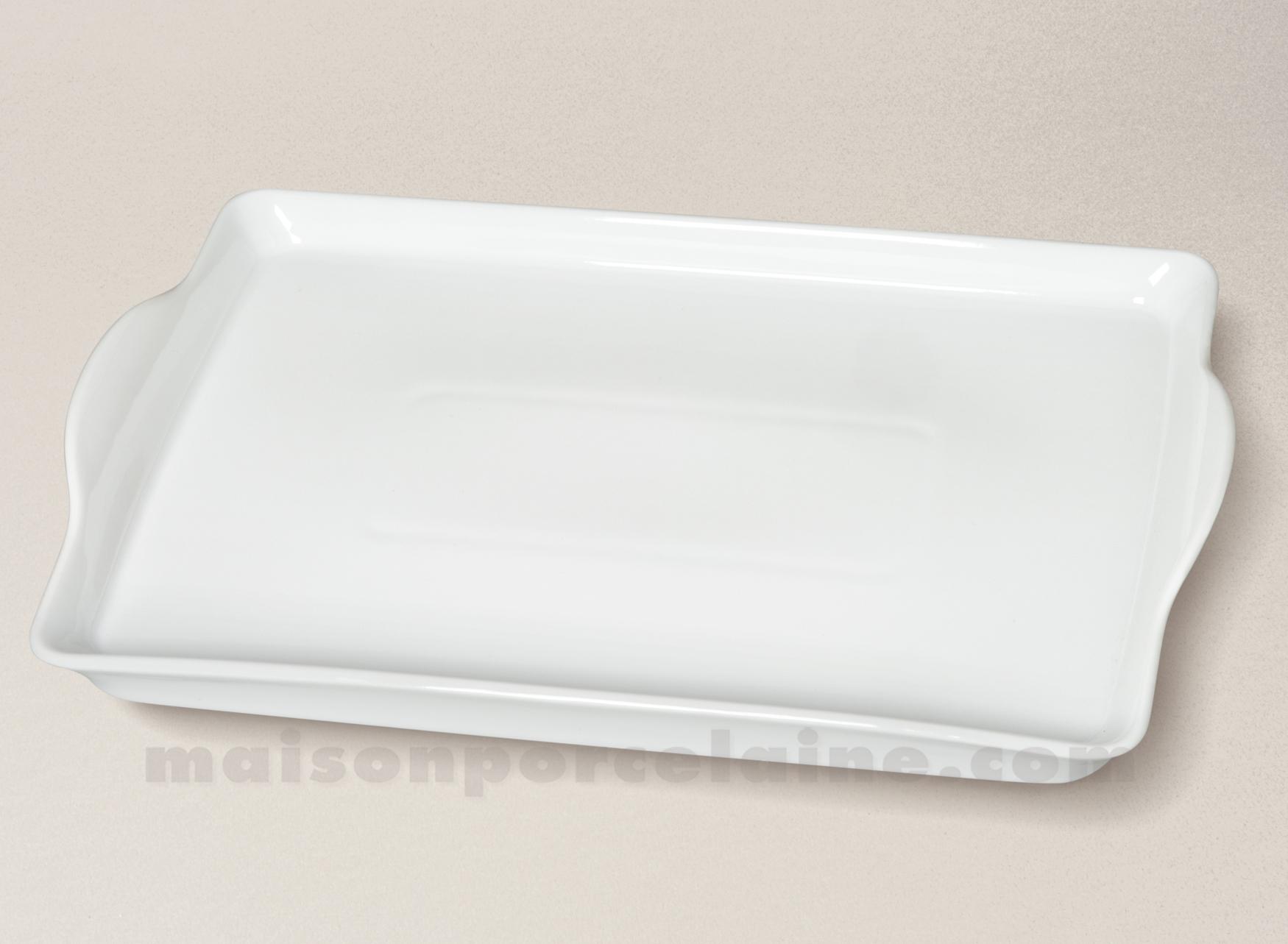 Plateau porcelaine blanche rectangulaire anses for Service de table rectangulaire