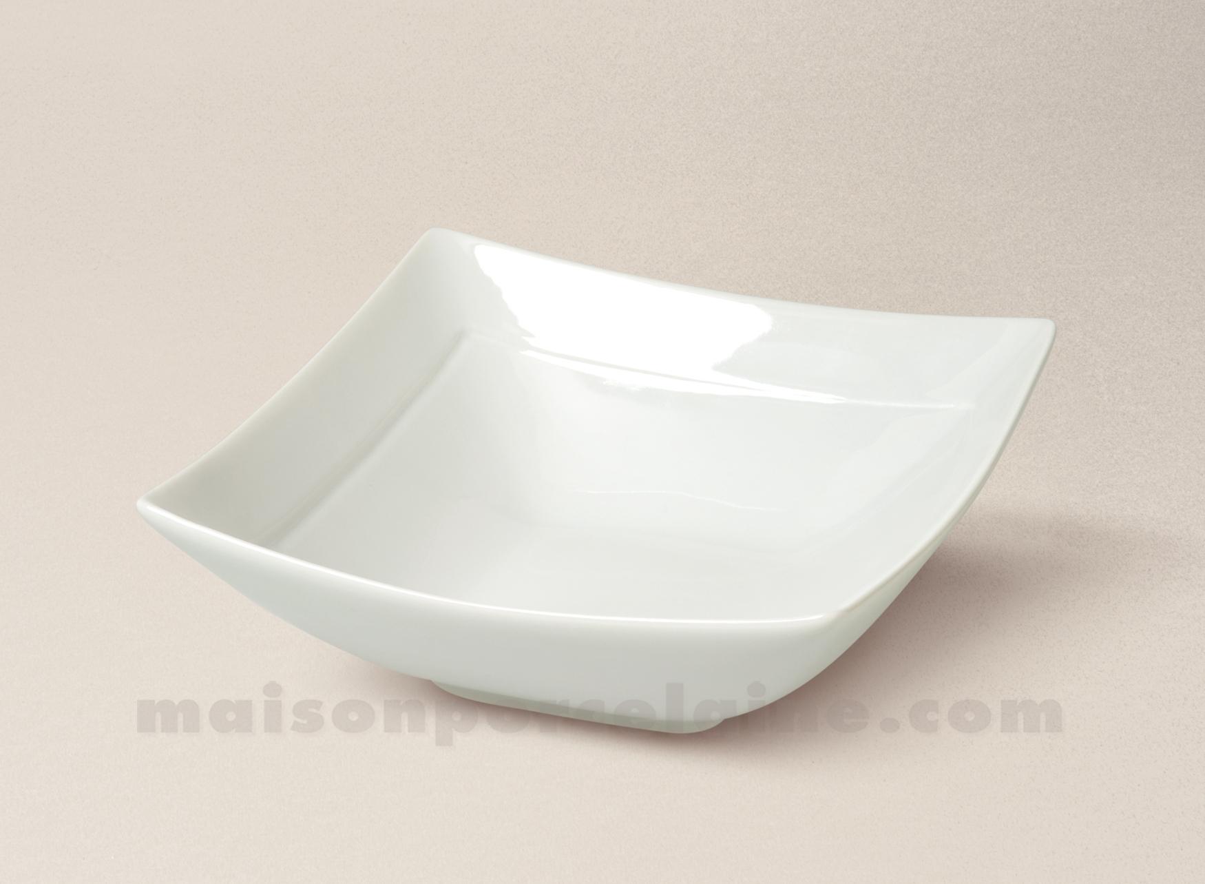 Saladier carre porcelaine blanche individuel ruban 15 5x15 for Maison de ruban