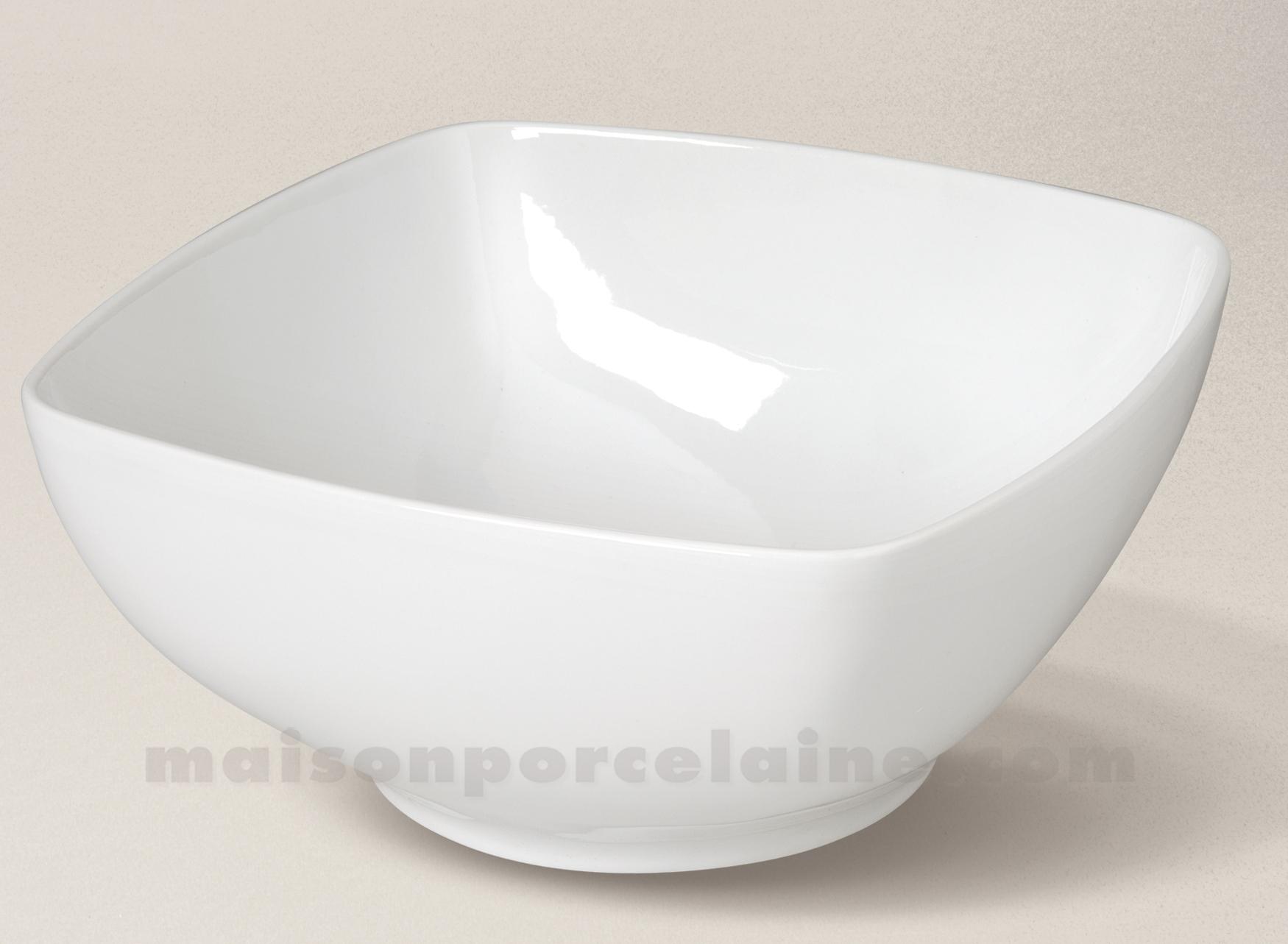 saladier carre porcelaine blanche sahara 23x23 maison de la porcelaine. Black Bedroom Furniture Sets. Home Design Ideas