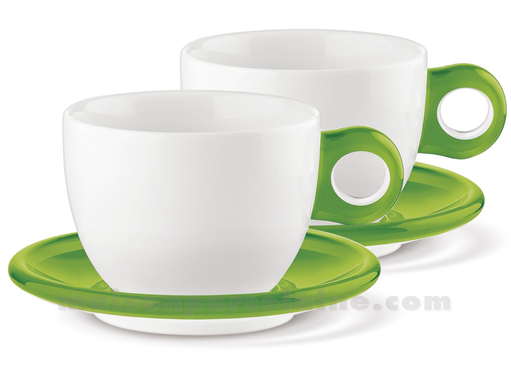 Set de 2 tasses dejeuner porcelaine anse et soucoupe for Set petit dejeuner porcelaine