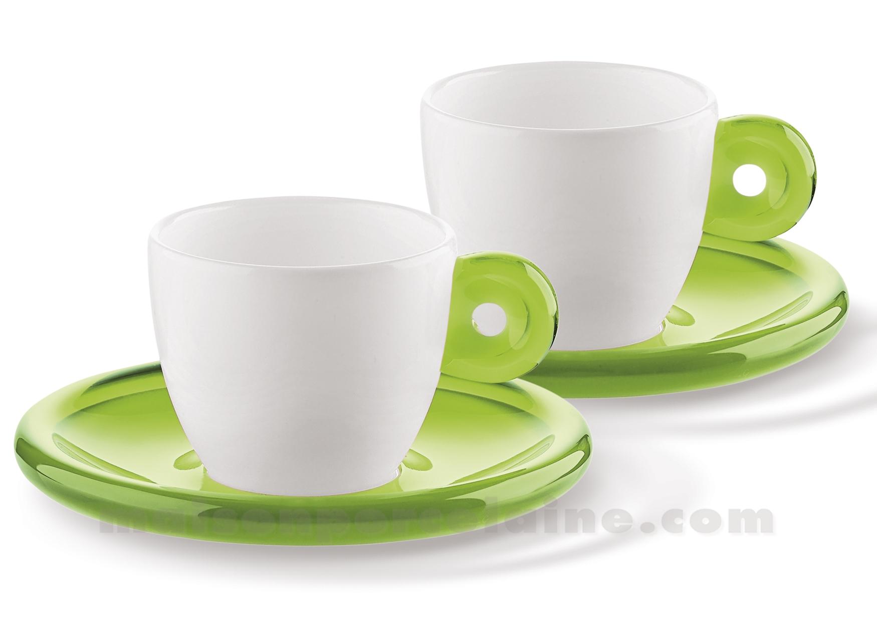 set de 2 tasses expresso porcelaine anse et soucoupe acrylique 25x17x9 5cl maison de la porcelaine. Black Bedroom Furniture Sets. Home Design Ideas