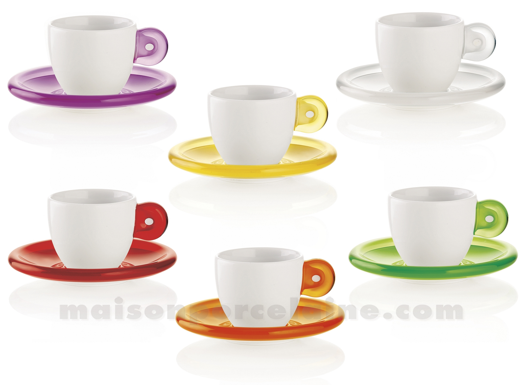 set de 6 tasses expresso porcelaine anse et soucoupe. Black Bedroom Furniture Sets. Home Design Ideas