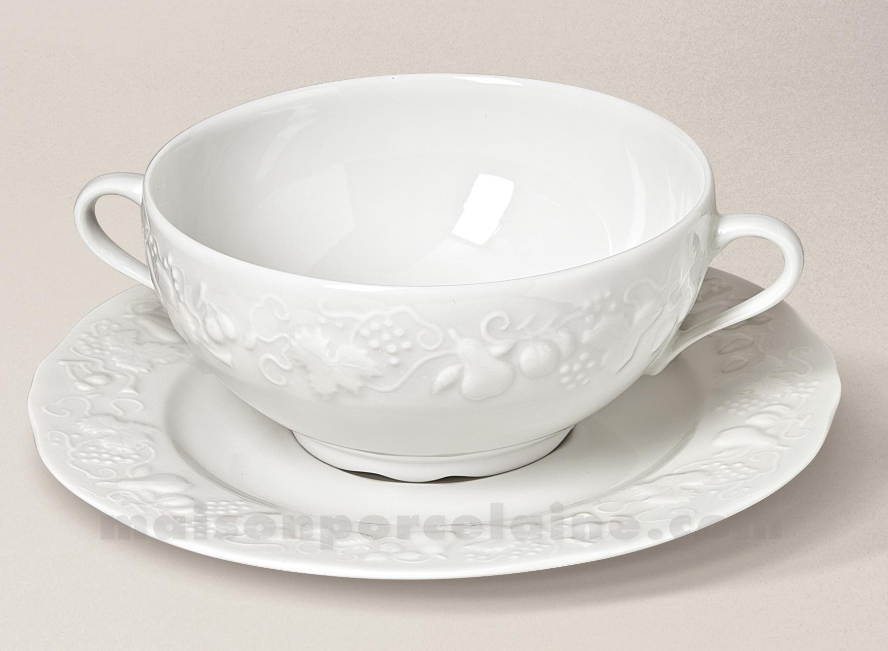 tasse bouillon soucoupe california limoges porcelaine blanche 40cl maison de la porcelaine. Black Bedroom Furniture Sets. Home Design Ideas