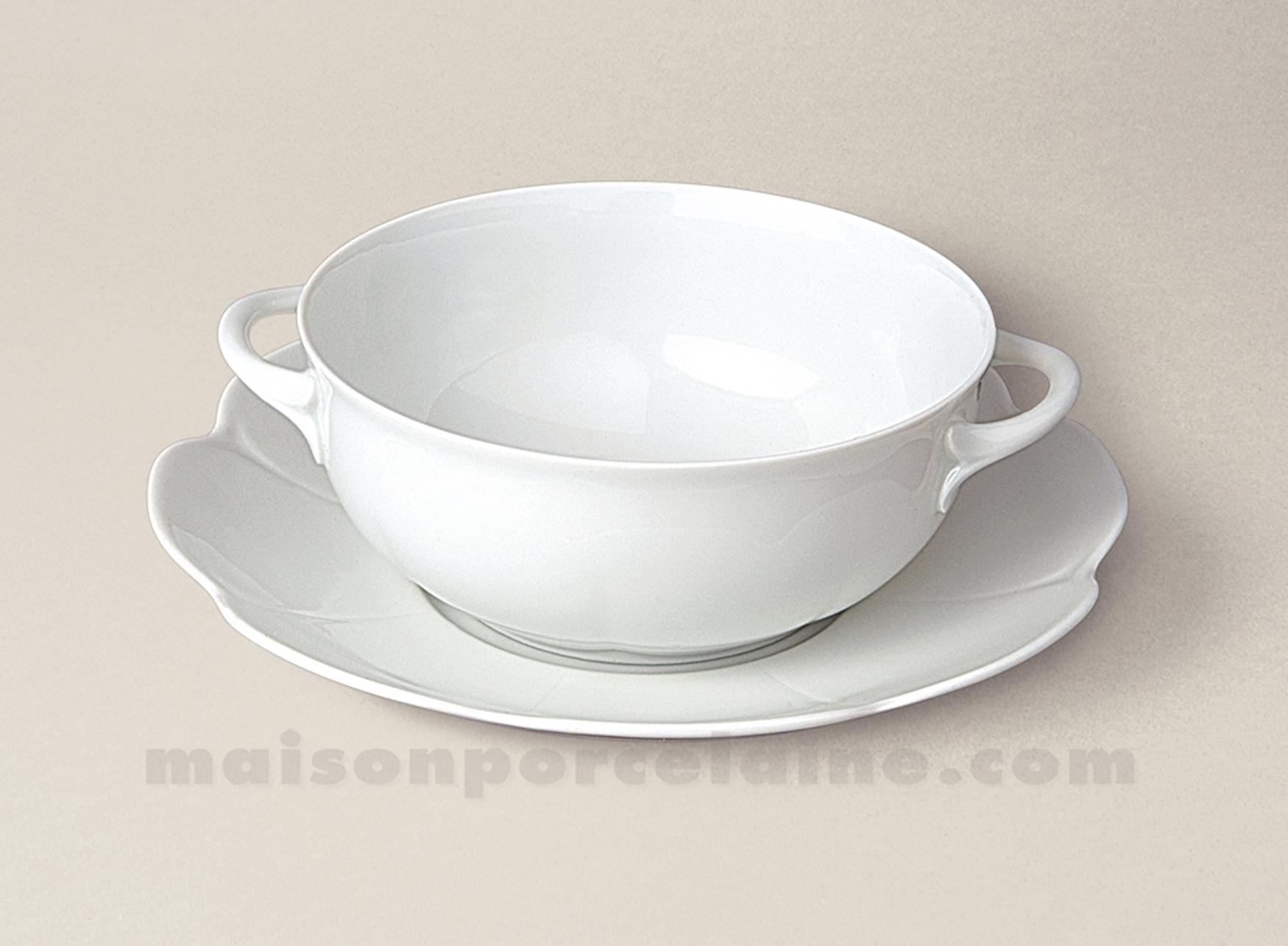 Tasse bouillon soucoupe limoges porcelaine blanche nymphea for Maison de la porcelaine