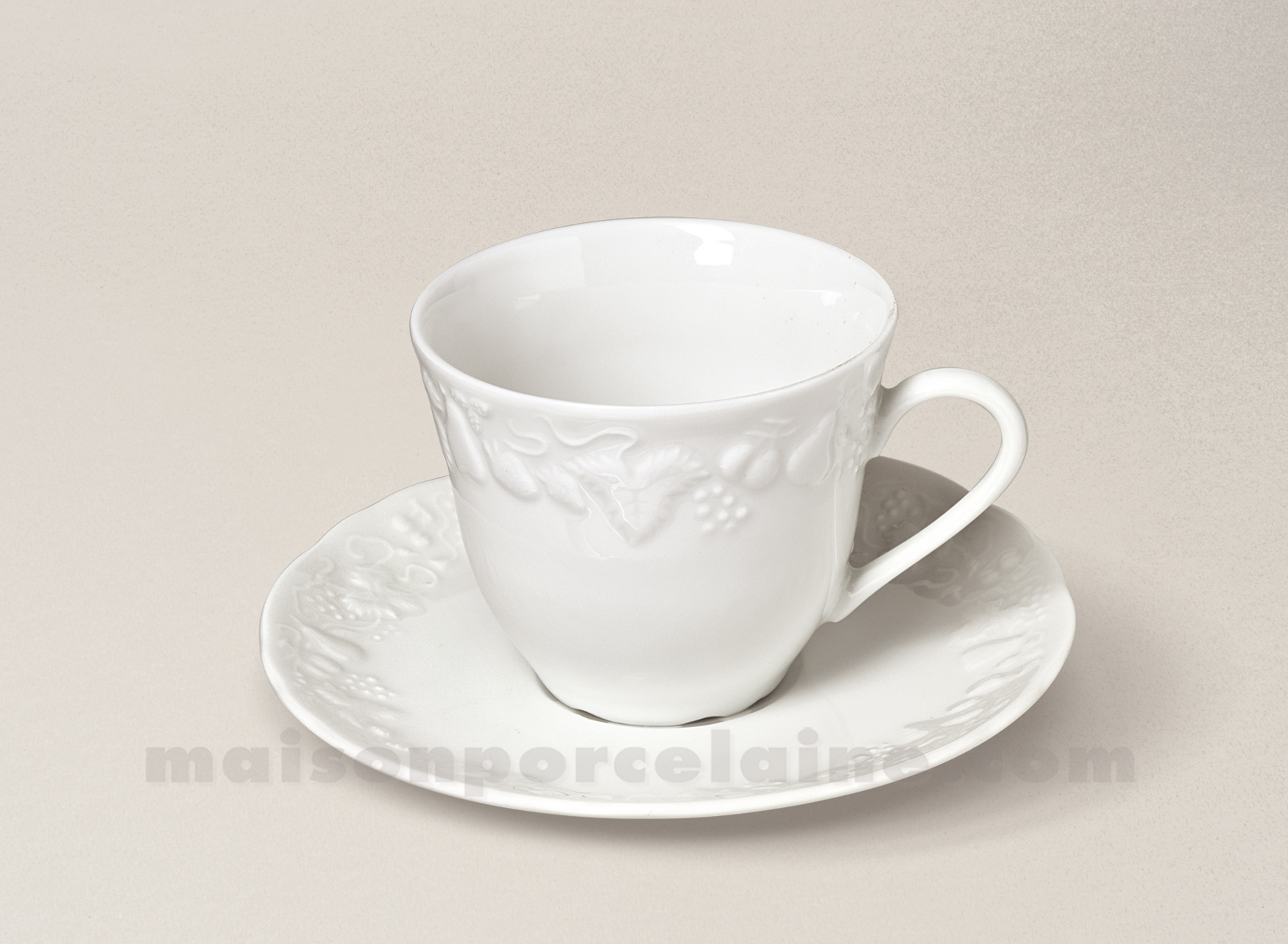 tasse cafe california soucoupe limoges porcelaine blanche limoges 13cl maison de la porcelaine. Black Bedroom Furniture Sets. Home Design Ideas