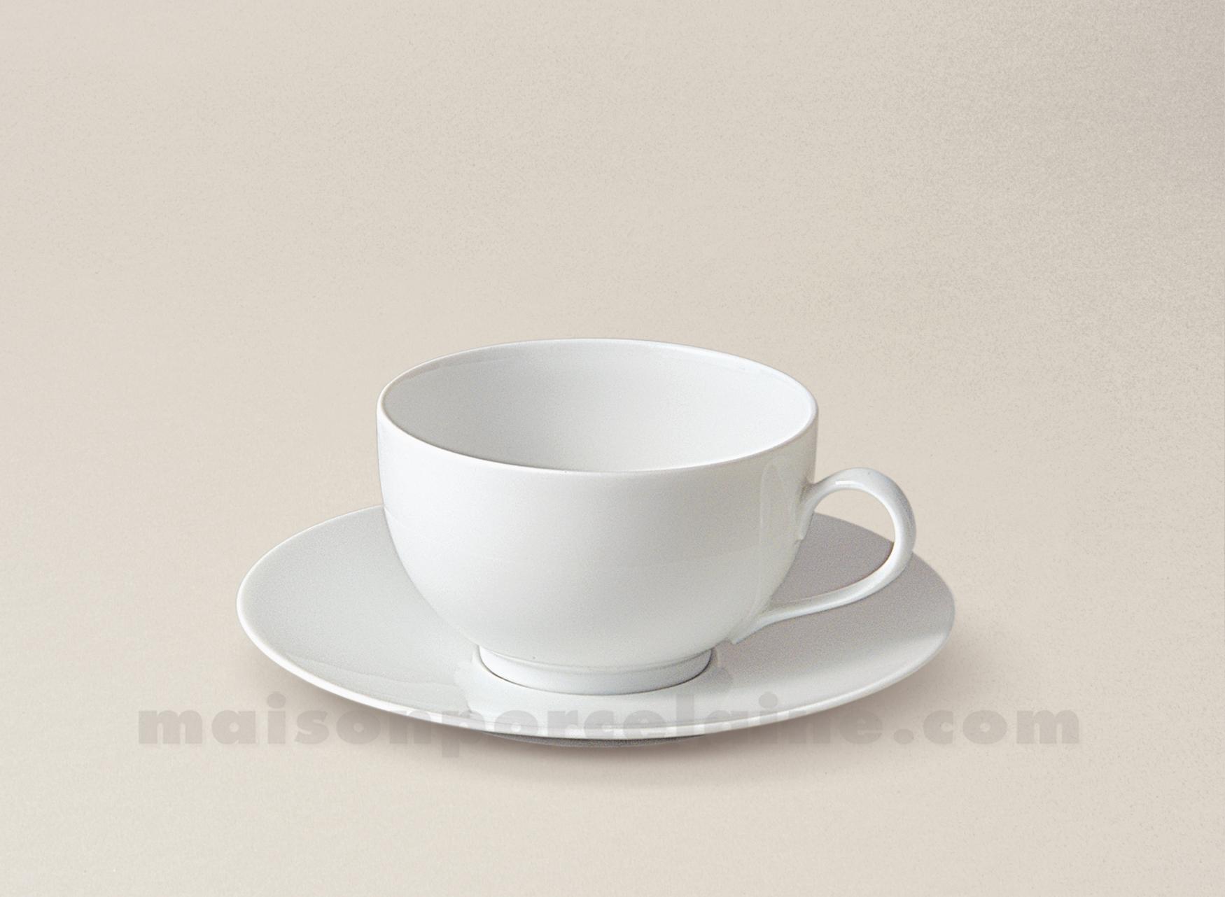 Maison De La Porcelaine Blanche #9: TASSE CAFE+SOUCOUPE LIMOGES PORCELAINE BLANCHE ENVIE 14CL