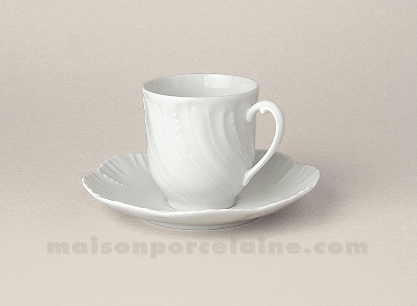 Tasse cafe soucoupe limoges porcelaine blanche ocean 10cl for Maison de la porcelaine