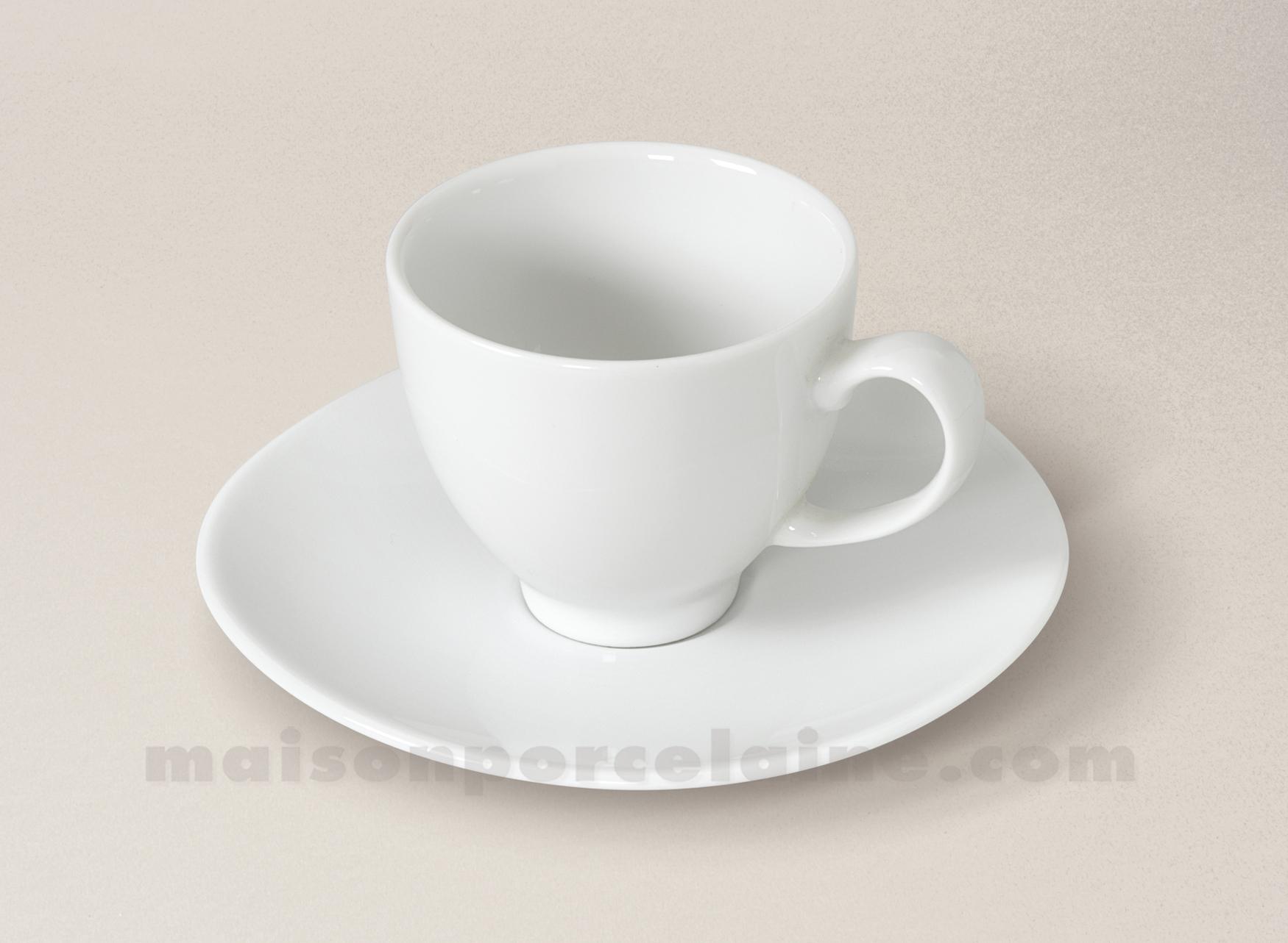 Tasse cafe soucoupe porcelaine blanche island 6 5x5 2 10cl for Maison de la porcelaine