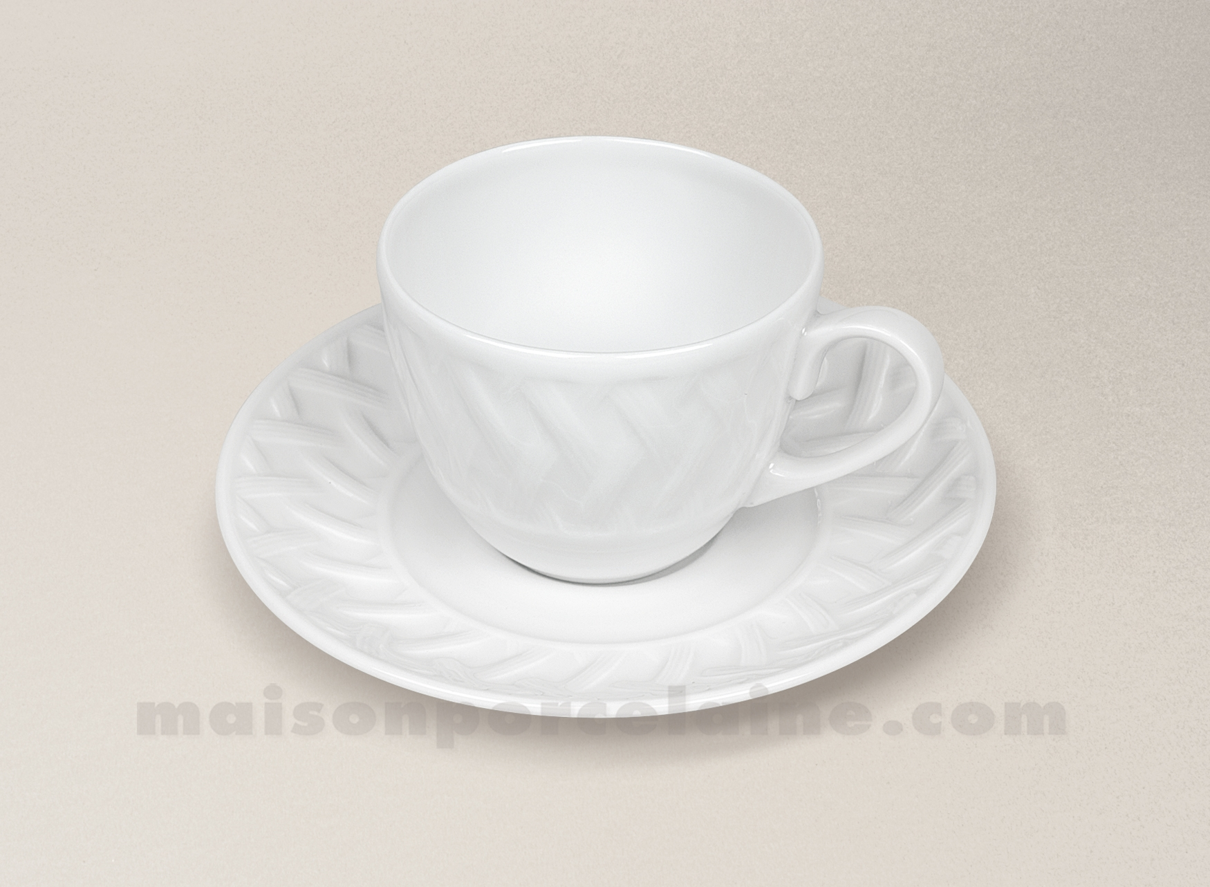 Tasse cafe soucoupe porcelaine blanche louisiane 10cl for Maison de la porcelaine