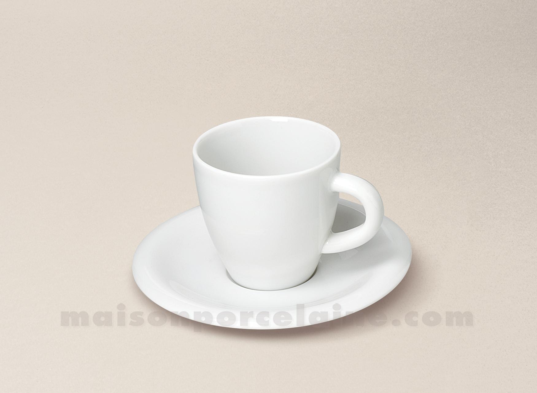 Tasse cafe soucoupe porcelaine blanche ronda 10cl maison for Maison de la porcelaine