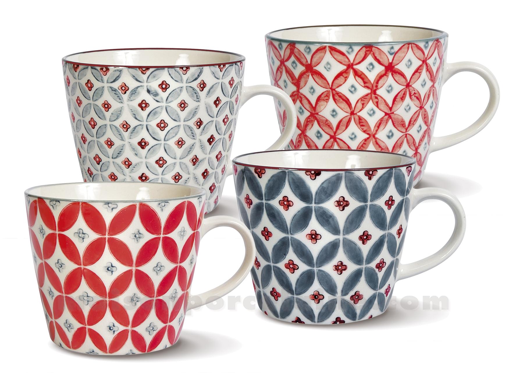 tasse ceramique st ouen set de 4 assorties maison de la porcelaine. Black Bedroom Furniture Sets. Home Design Ideas