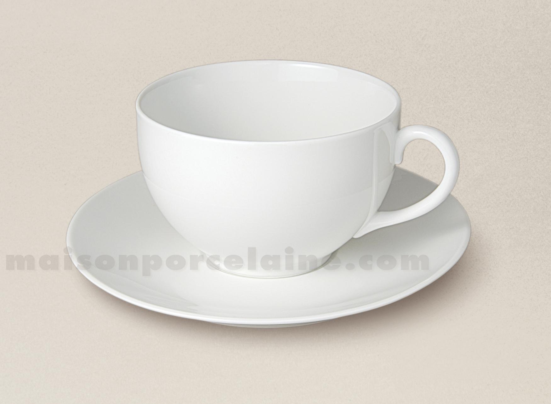 tasse dejeuner boule soucoupe porcelaine blanche flandre 42cl maison de la porcelaine. Black Bedroom Furniture Sets. Home Design Ideas