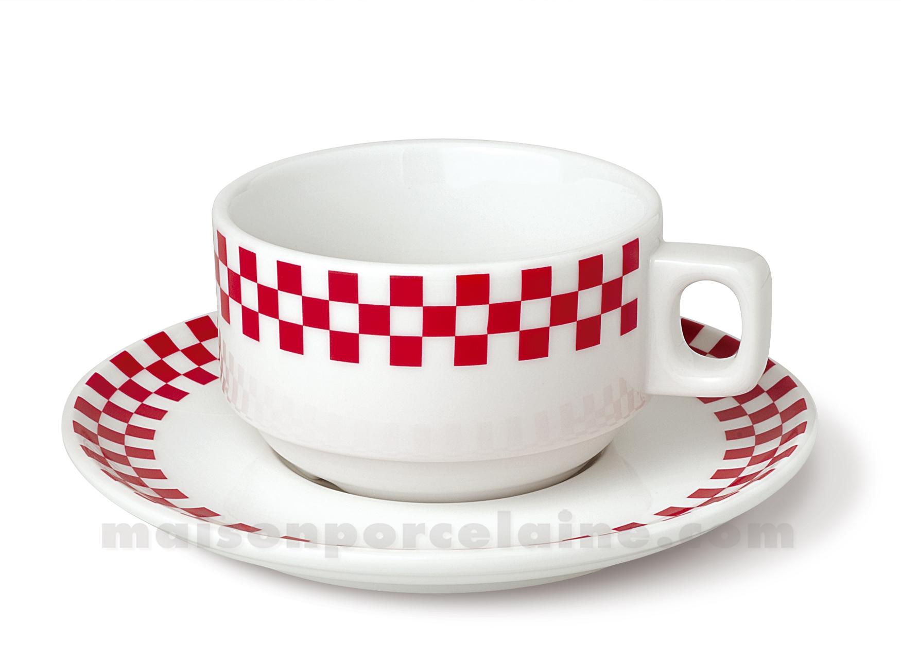 Tasse dejeuner empilable soucoupe bistro 30cl maison de la porcelaine - Maison de porcelaine ...