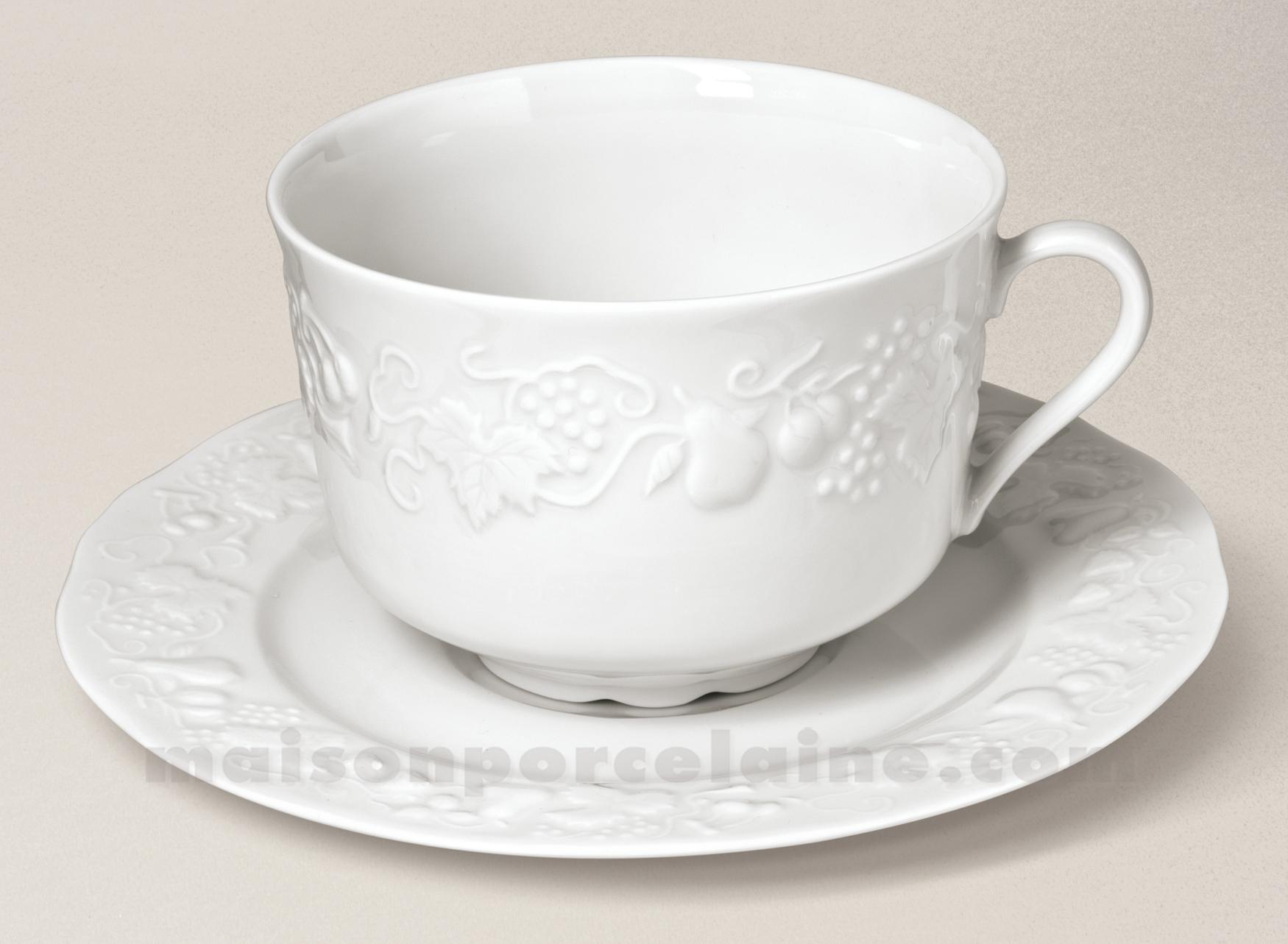tasse dejeuner jumbo california soucoupe limoges porcelaine blanche 47cl maison de la porcelaine. Black Bedroom Furniture Sets. Home Design Ideas