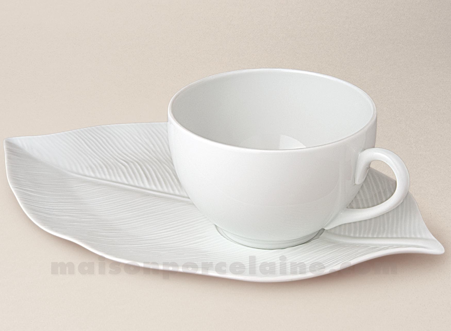 tasse dejeuner porcelaine blanche limoges boule soucoupe feuille palme 44cl maison de la. Black Bedroom Furniture Sets. Home Design Ideas