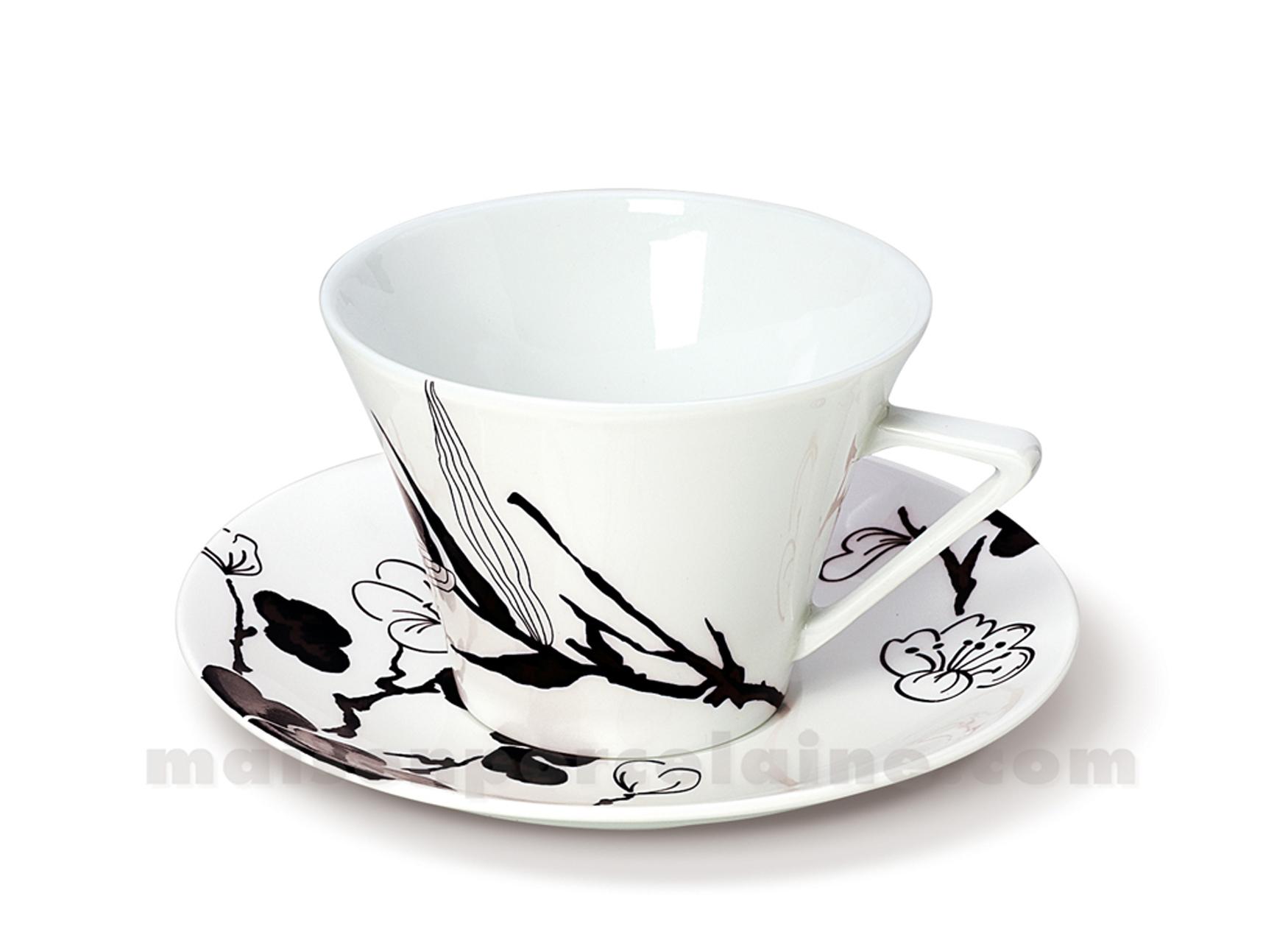 tasse dejeuner soucoupe limoges haussmann 37cl maison de la porcelaine. Black Bedroom Furniture Sets. Home Design Ideas