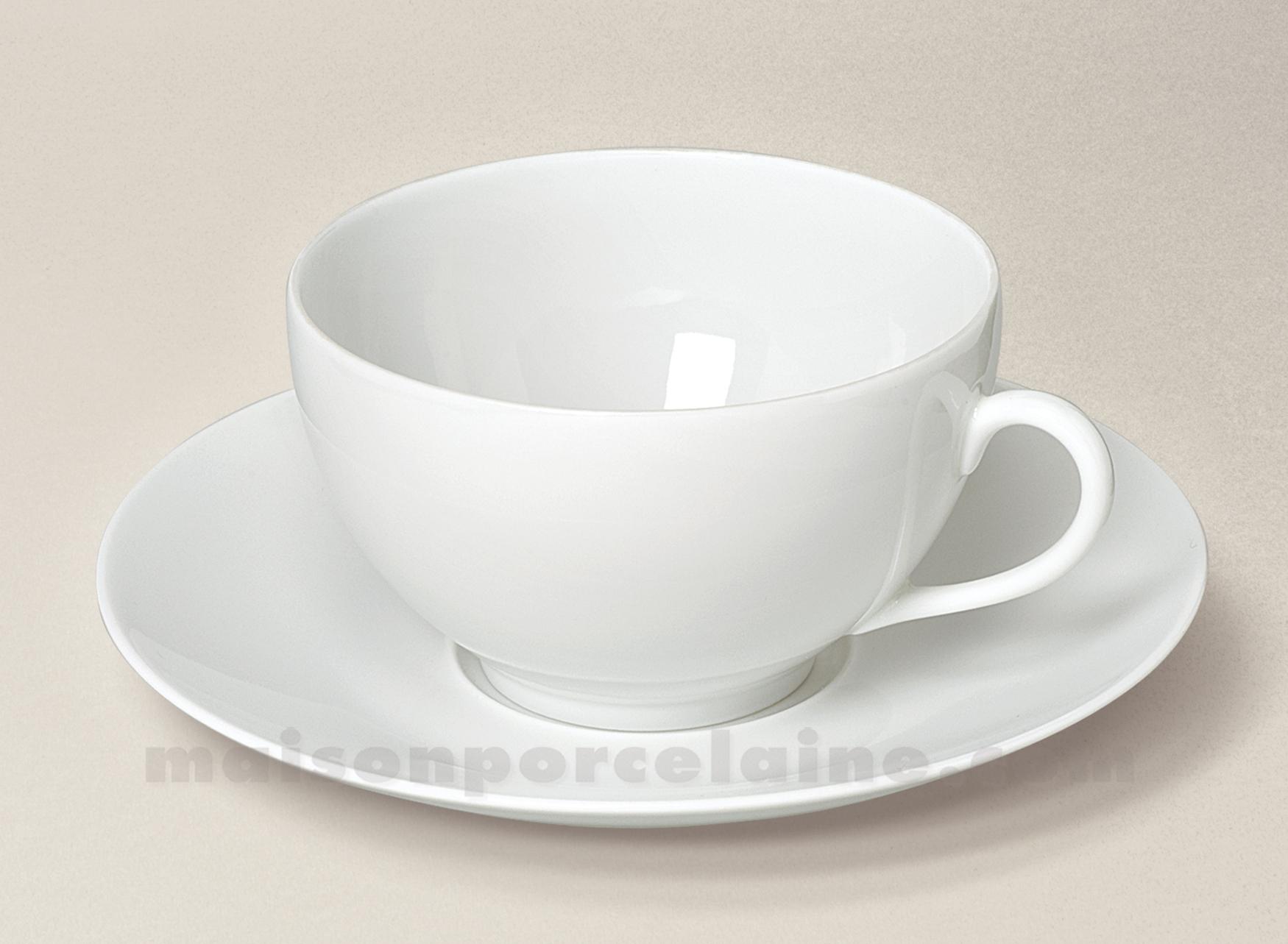 tasse dejeuner soucoupe limoges porcelaine blanche envie 35cl maison de la porcelaine. Black Bedroom Furniture Sets. Home Design Ideas