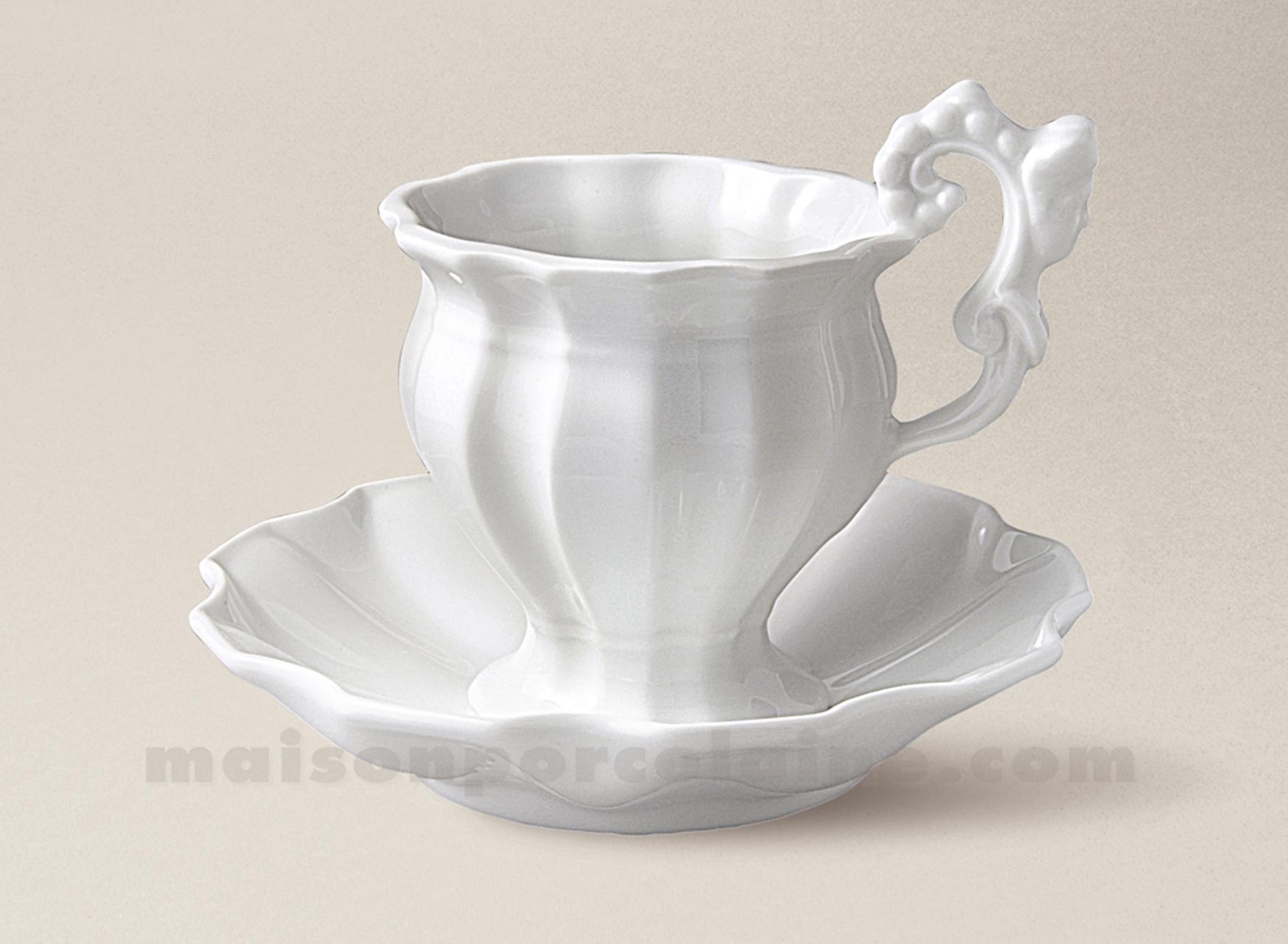 Tasse dejeuner soucoupe porcelaine blanche limoges vieux paris 39cl maison - La porcelaine blanche ...