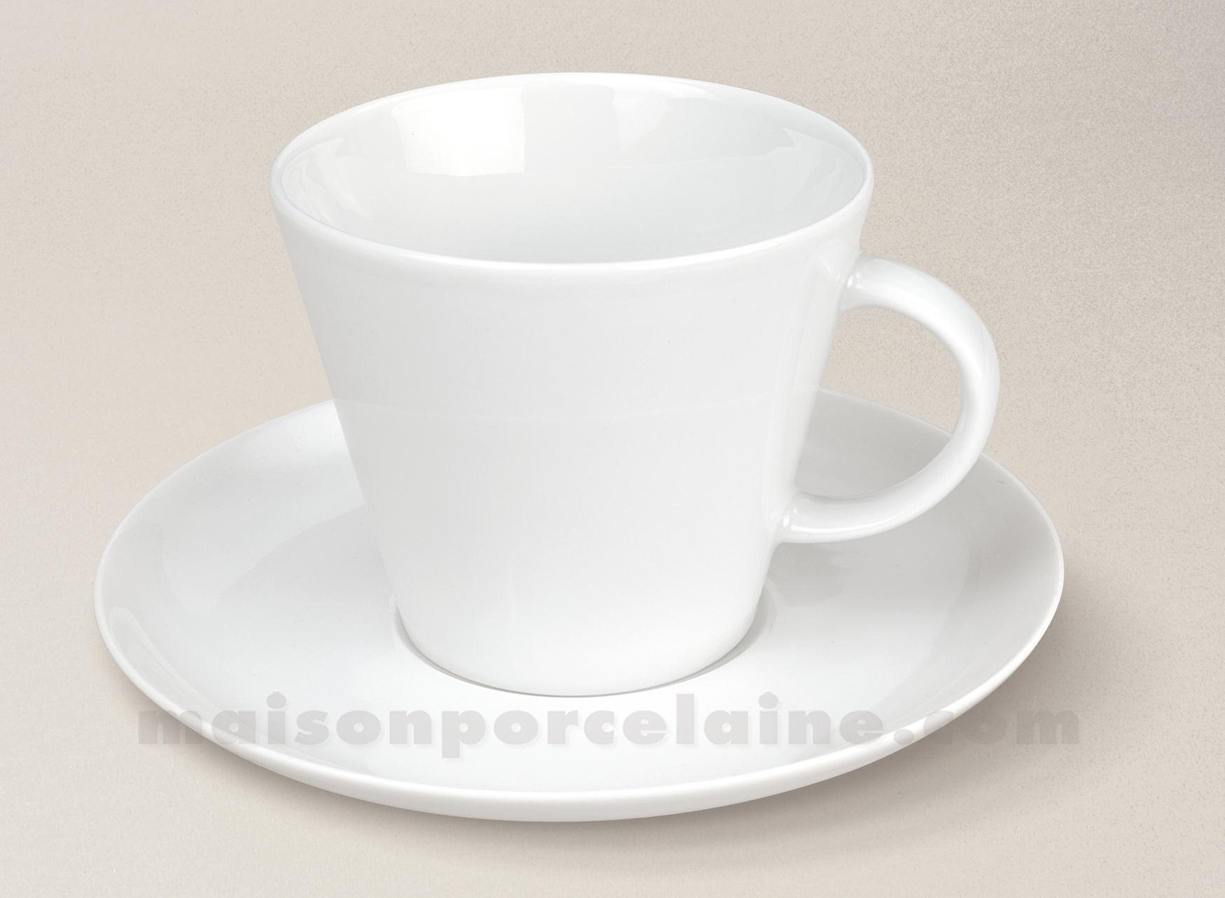 tasse dejeuner soucoupe porcelaine blanche trapeze maison de la porcelaine. Black Bedroom Furniture Sets. Home Design Ideas