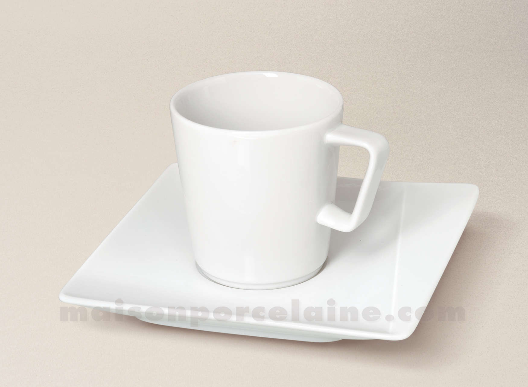 Tasse The Soucoupe Carree Porcelaine Blanche Kheops 19cl